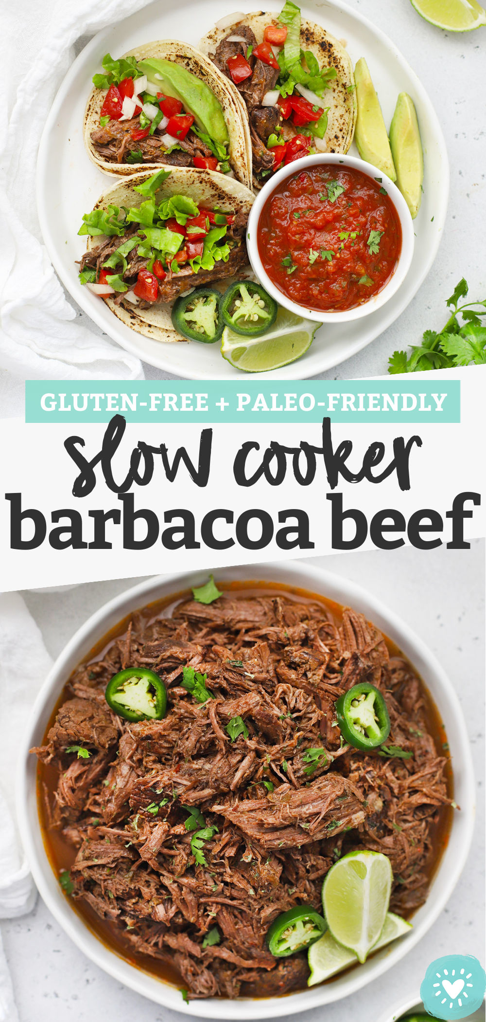 Slow Cooker Barbacoa Beef - Tender slow-cooker barbacoa beef makes the most amazing tacos, burritos, burrito bowls, nachos, and more! (Gluten-Free) // Barbacoa Beef Tacos // Crock pot barbacoa beef // Barbacoa beef burrito bowls // Paleo barbacoa beef #glutenfree #tacos #burritobowls #texmex #slowcooker #crockpot