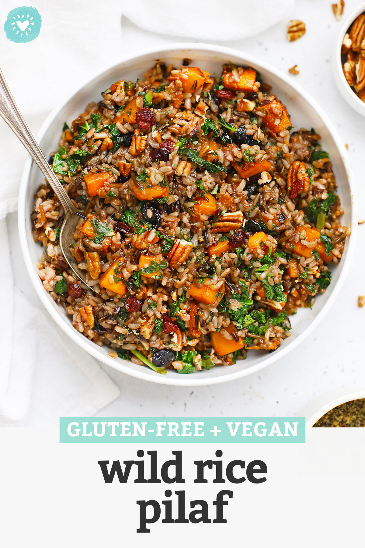 Wild Rice Pilaf with Butternut Squash - Wild Rice Pilaf with butternut squash, pecans, cranberries, and more! (Gluten-Free + Vegan) // Wild Rice Squash Pilaf // Wild Rice Squash Salad // Wild Rice Stuffing // Vegan Thanksgiving Recipes // Thanksgiving Side Dish #glutenfree #thanksgiving #sidedish #wildrice #pilaf #vegan