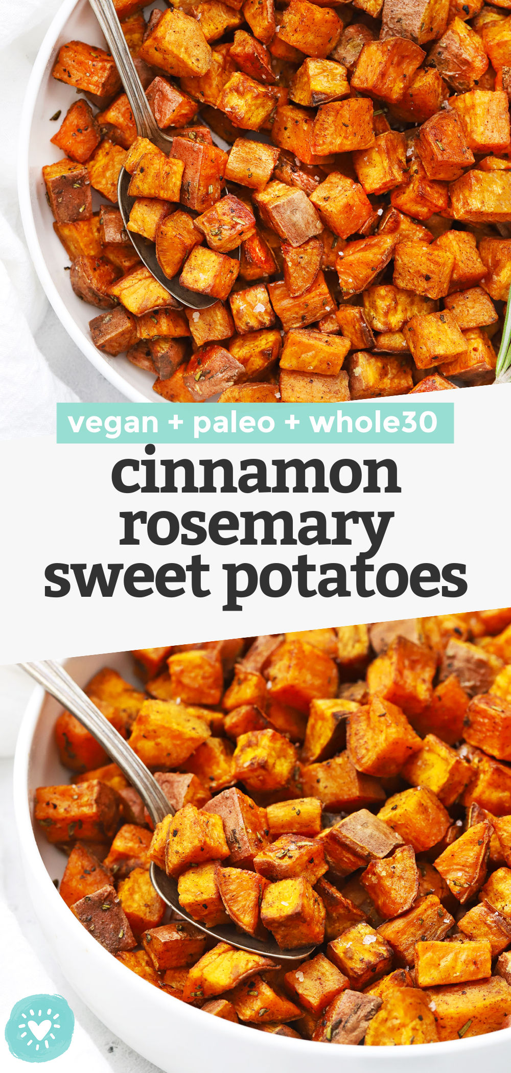 Cinnamon Rosemary Sweet Potatoes - These roasted rosemary sweet potatoes have a gorgeous caramelized texture and a delicious blend of flavors you'll crave over and over again. (Paleo, Vegan, Whole30) // Roasted Sweet Potatoes Recipe // Side Dish // Healthy Recipe #sweetpotatoes #sidedish #whole30 #vegan #paleo