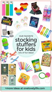 """Creative Kids Stocking Stuffers with text overlay that reads """"30 awesome stocking stuffers for kids"""""""