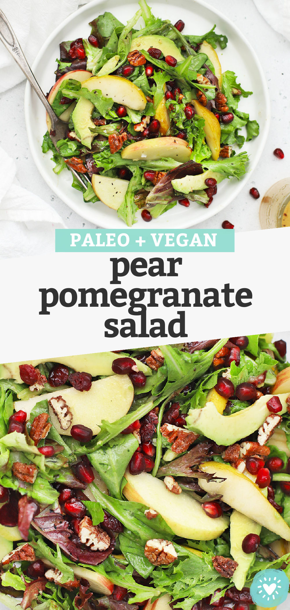 Pear Pomegranate Salad  - This pear and pomegranate salad has a beautiful mix of color and flavor. You'll love the simple dressing that ties it all together! (Gluten-Free + Vegan) // Pomegranate Salad Recipe // Side Salad // Holiday salad // Christmas side dish // Thanksgiving side dish #pomegranate #salad #sidedish #sidesalad #paleo #vegan