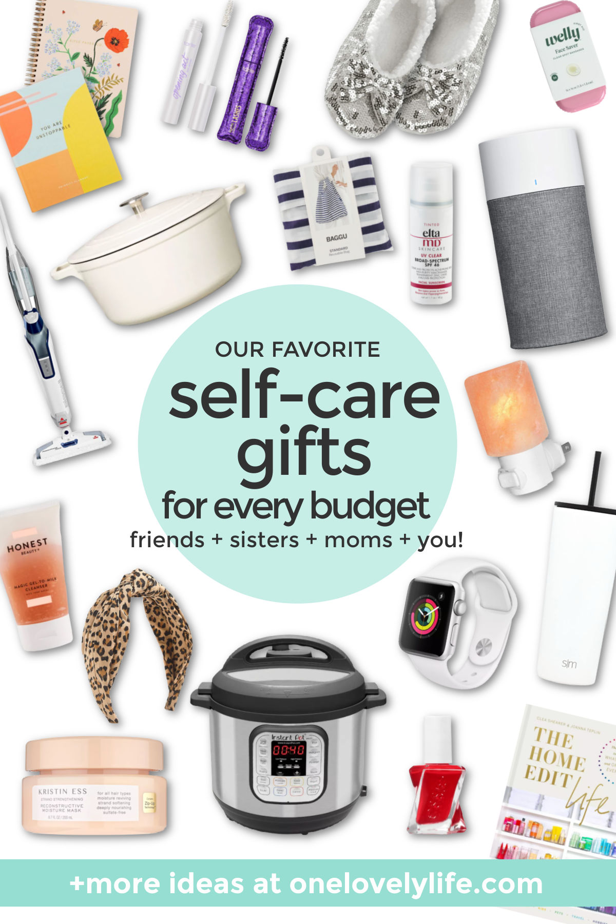 """Collage of images of self-care gifts with text overlay that reads """"Our Favorite Self-Care Gifts For Every Budget. Friends + Sisters + Moms + You!"""""""