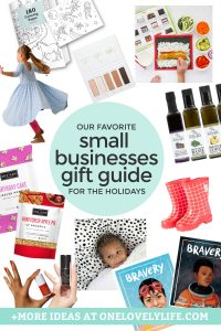 "Collage of products from small businesses with text overlay that reads ""Our Favorite Small Businesses Gift Guide for the Holidays"""