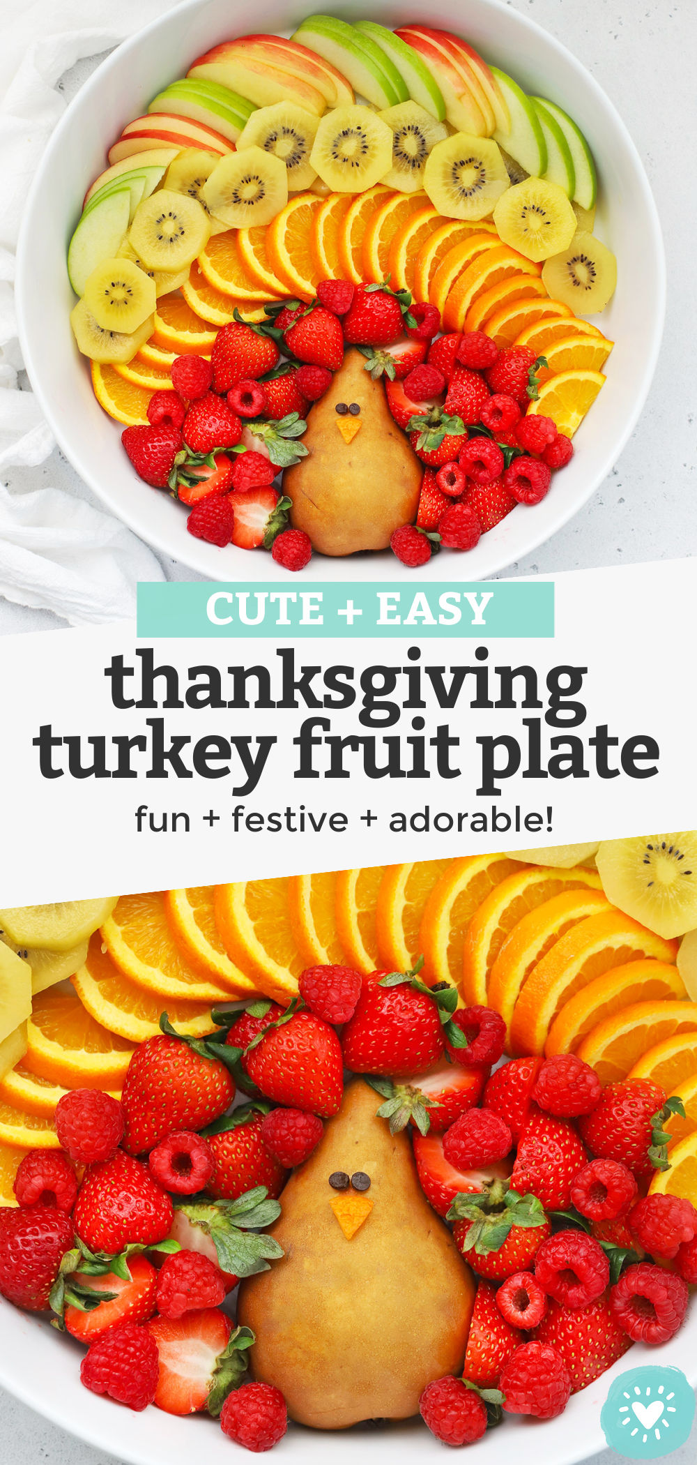 Thanksgiving Turkey Fruit Plate - This turkey-shaped Thanksgiving fruit platter looks adorable at holiday get-togethers and parties. It's a favorite with kids and grown-ups alike! (Naturally gluten-free, vegan & paleo) // Thanksgiving Appetizer // Thanksgiving Snack // Thanksgiving Fruit Platter // Turkey Fruit Platter // Fall Appetizer // #paleo #vegan #thanksgiving #appetizer #turkey #fruitplate #fruitplatter #healthysnack