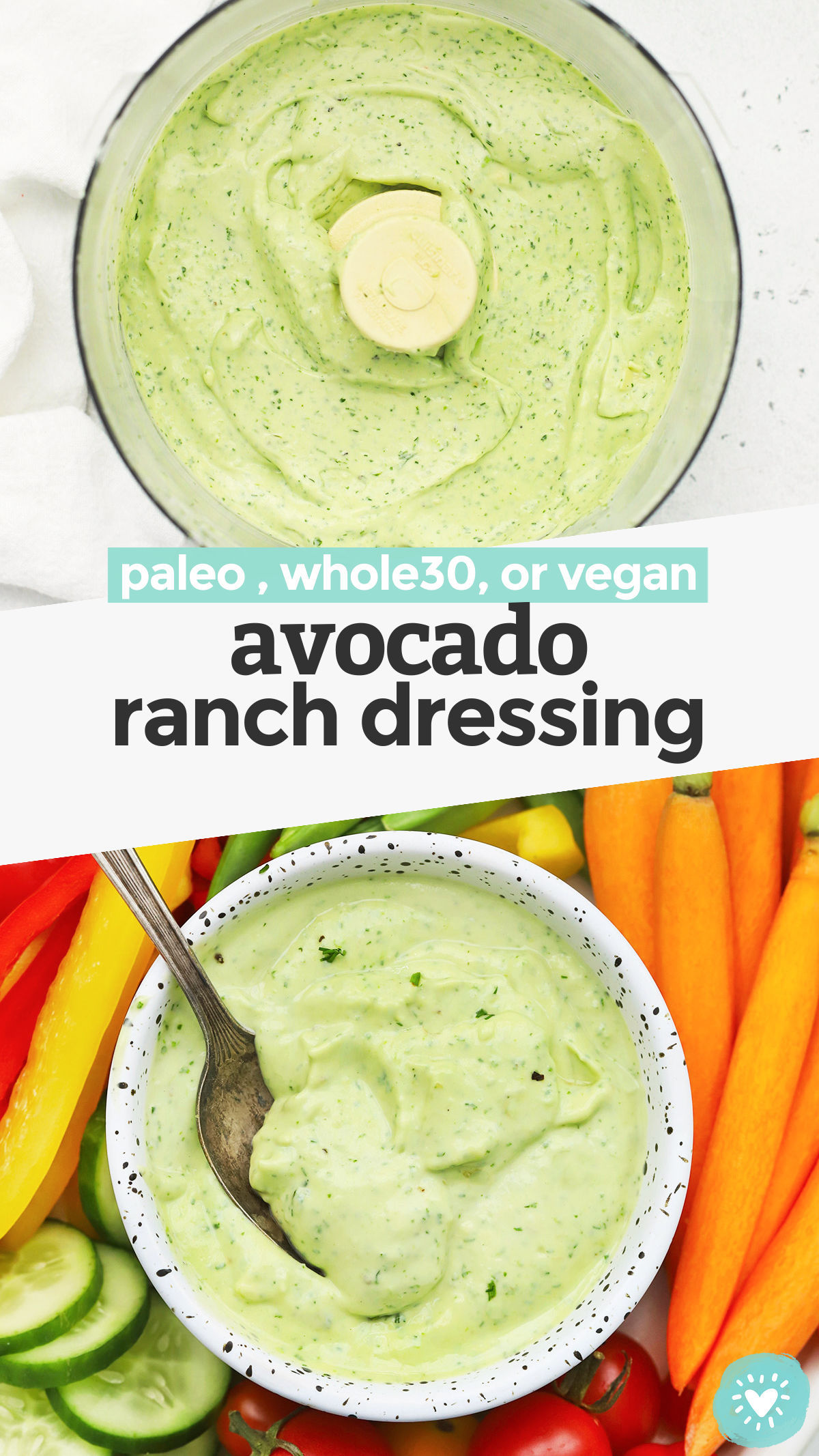 Creamy Avocado Ranch - This avocado ranch dressing recipe is everything I love about ranch dressing and avocados combined! It's an awesome dip for veggies, addition to tacos, or topping for salads. // Paleo Avocado Ranch // Vegan Avocado Ranch // Avocado Ranch Dip // Whole30 Avocado Ranch #paleoranch #avocadoranch #healthydip #avocado