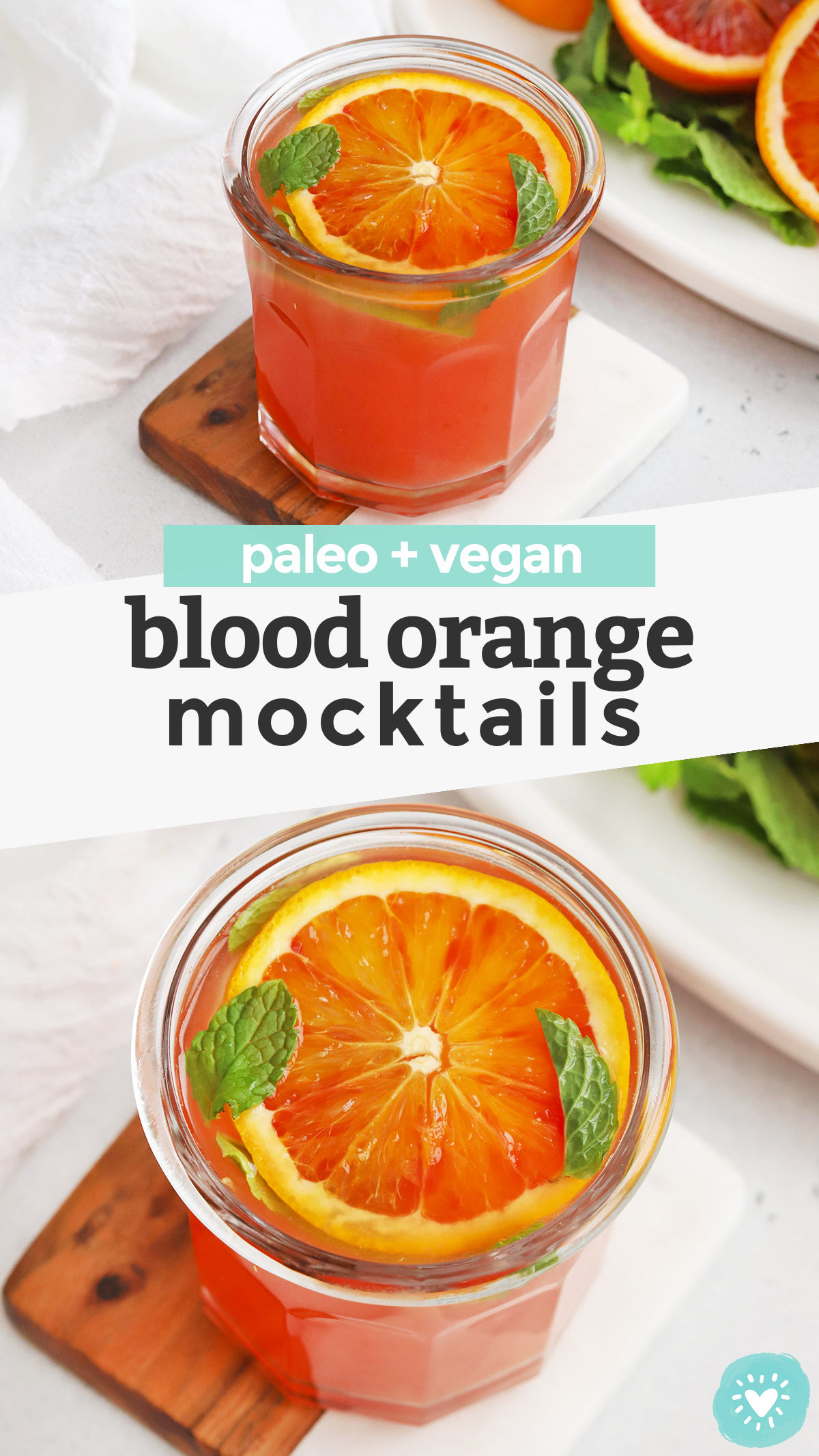 Blood Orange Mocktail - these naturally sweetened citrus mocktails are perfect for the holidays. Make the most of citrus season with these gorgeous non-alcoholic blood orange cocktails! (Paleo + Vegan!) // Holiday Mocktail // Winter Mocktail // New Year's Eve Mocktail // Citrus Mocktail Recipe // Paleo Mocktail // Vegan Mocktail // Non-Alcoholic Blood Orange Cocktail #mocktail