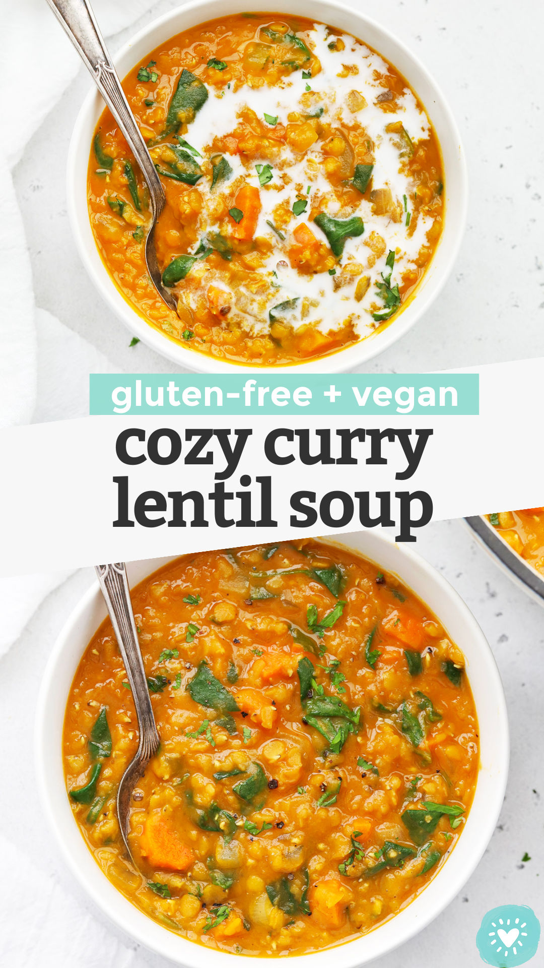 Cozy Curry Lentil Soup - This easy lentil soup recipe is perfect for cold weather and cozy days in. (Vegan, Gluten-Free) // Vegan Lentil Soup // Healthy Lentil Soup // Healthy Soup Recipe // Healthy Lunch // Meal Prep Lunch #lentilsoup #healthysoup #healthylunch #vegan #glutenfree