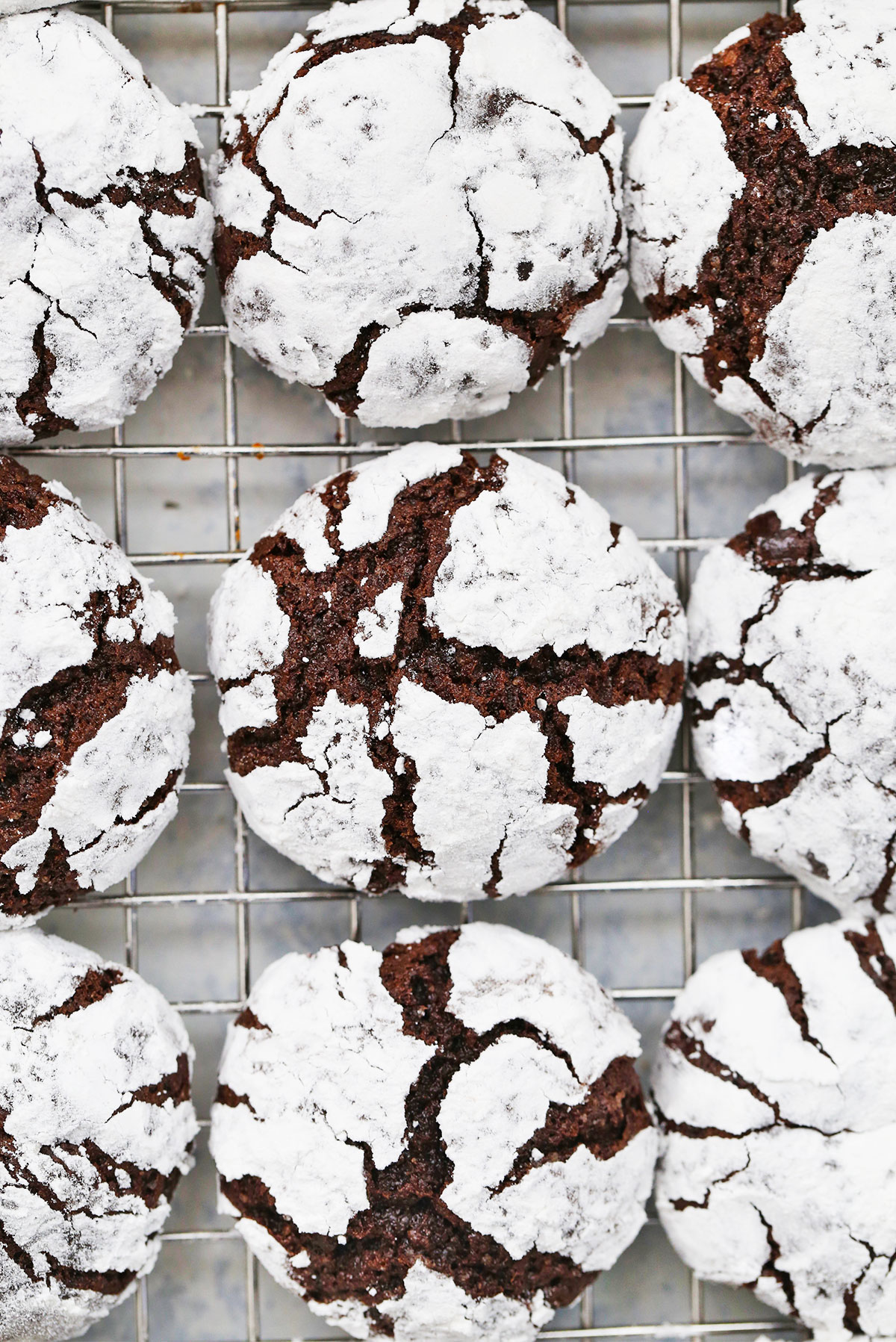 Overhead view of Gluten Free Chocolate Crinkle Cookies from One Lovely Life