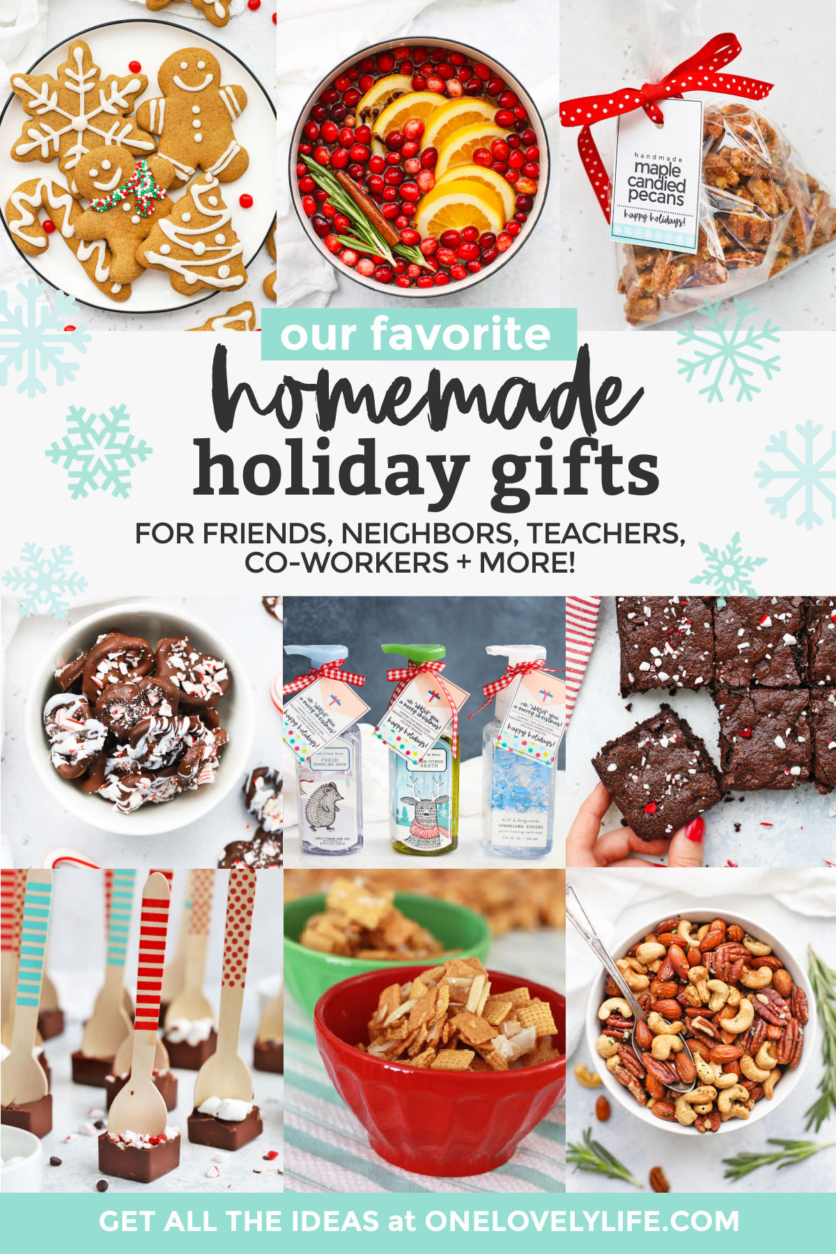 "Collage of images of homemade gifts on a white background with text overlay that reads ""Our Favorite Homemade Holiday Gifts for friends, neighbors, teachers, co-workers + more!"""