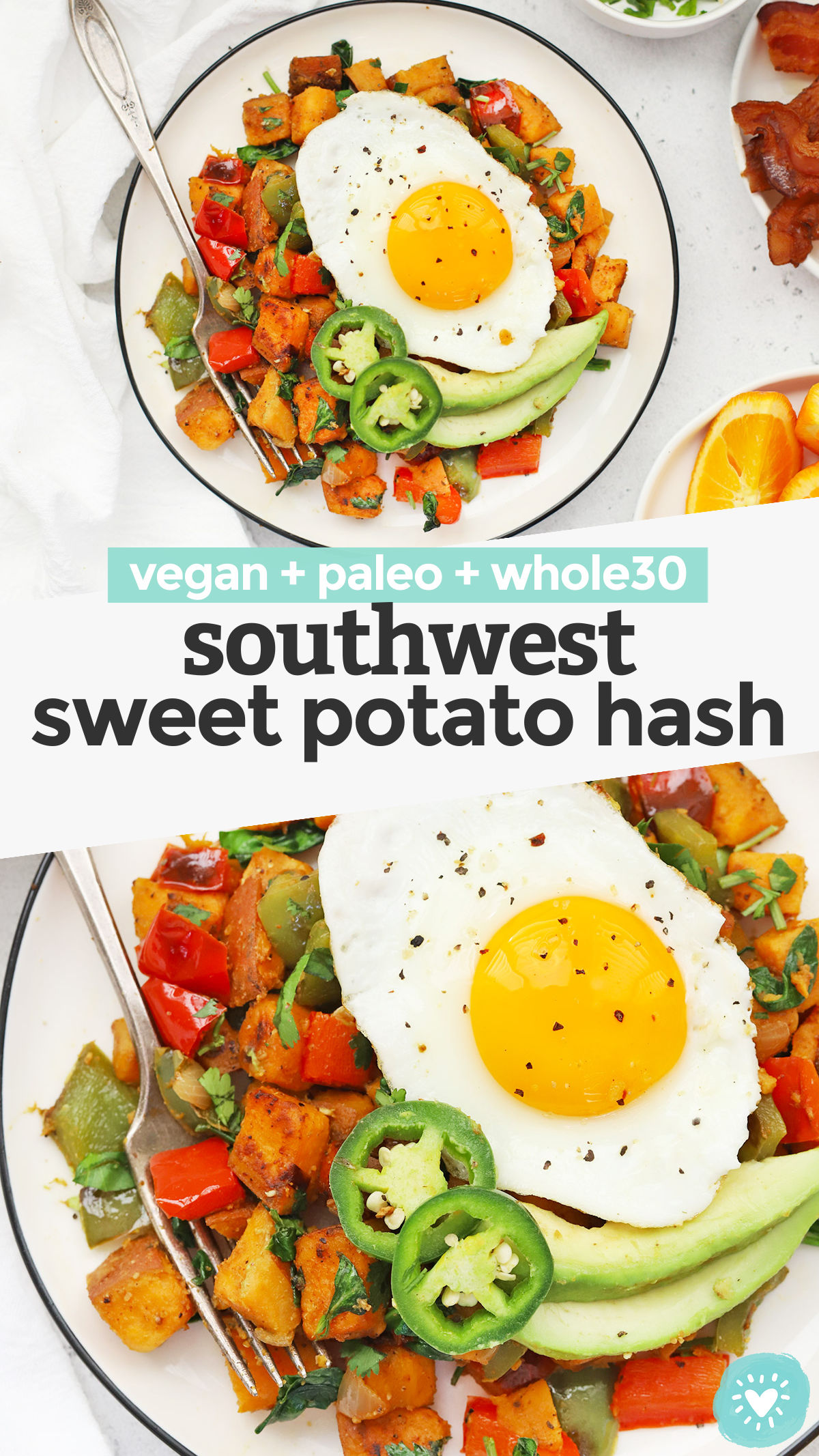 Sweet Potato Hash - This Southwest Sweet Potato Hash has a blend of warm spices, colorful veggies, and will keep you satisfied all morning long. A delicious, healthy breakfast any day of the week! (Vegan, Paleo, Whole30) // Paleo Sweet Potato Hash // Whole30 Sweet Potato Hash // Vegan Sweet Potato Hash // Whole30 breakfast // Paleo breakfast #healthybreakfast #paleo #vegan #glutenfree #vegetarian #whole30
