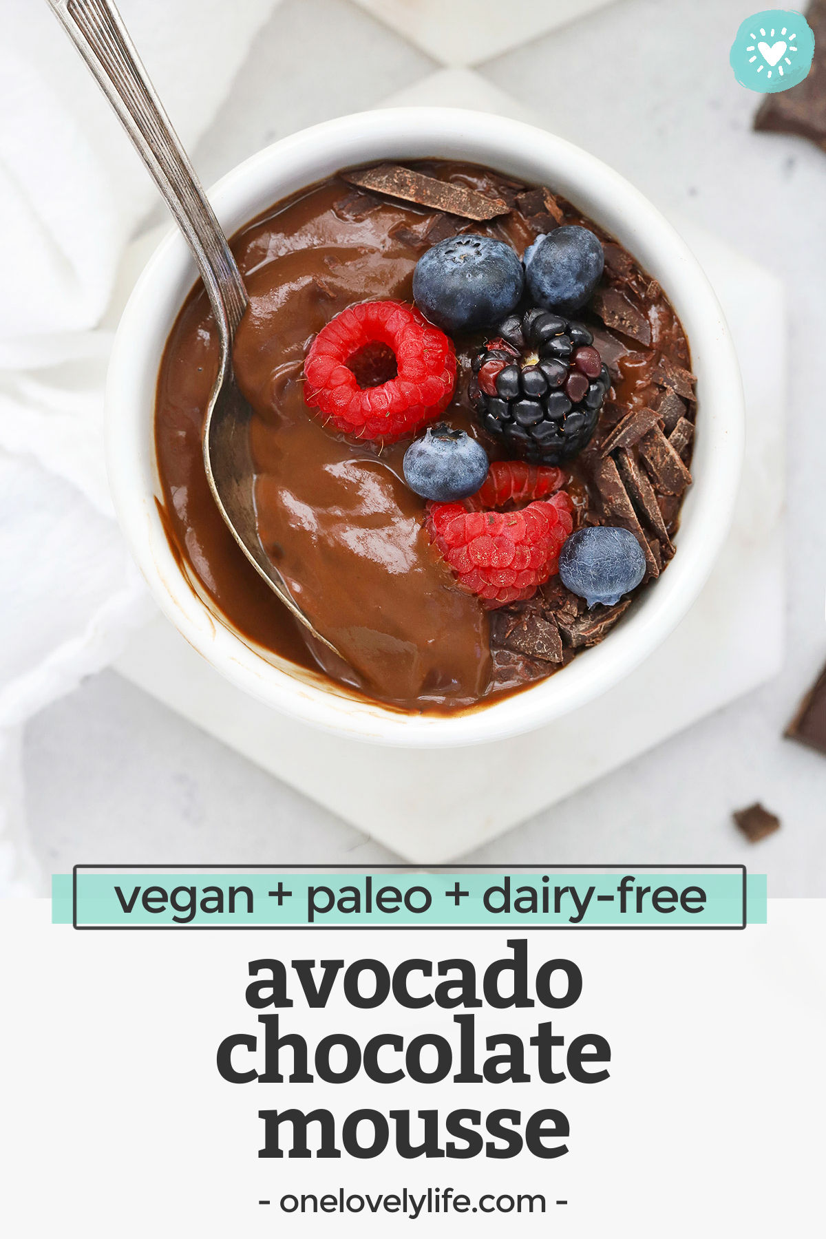 Chocolate Avocado Mousse - This velvety vegan chocolate mousse recipe has all the gorgeous flavor you're looking for and an ingredient list you're going to love! (Paleo, dairy-free). // paleo chocolate mousse // healthy chocolate mousse // dairy-free chocolate mousse // Avocado Chocolate pudding // Healthy dessert #vegan #chocolate #mousse #paleo #glutenfree #dairyfree #avocado