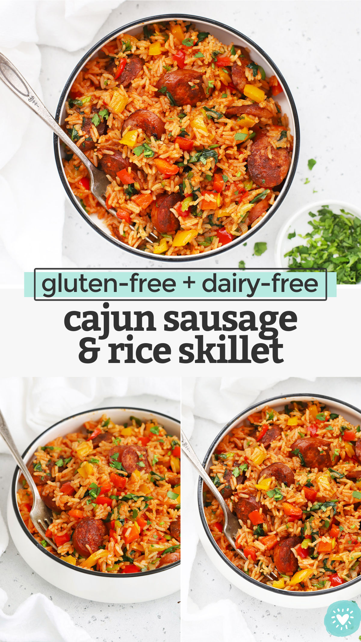 Cajun Sausage and Rice Skillet - This easy one pan dinner comes together in a flash, but packs some serious flavor! A family-friendly dinner that's easy enough to make any night of the week! (Gluten-Free, Dairy-Free) // One-Pan Dinner // Easy Dinner // Cajun Rice // Gluten-Free Dinner #glutenfree #easydinner #rice #onepan #skillet