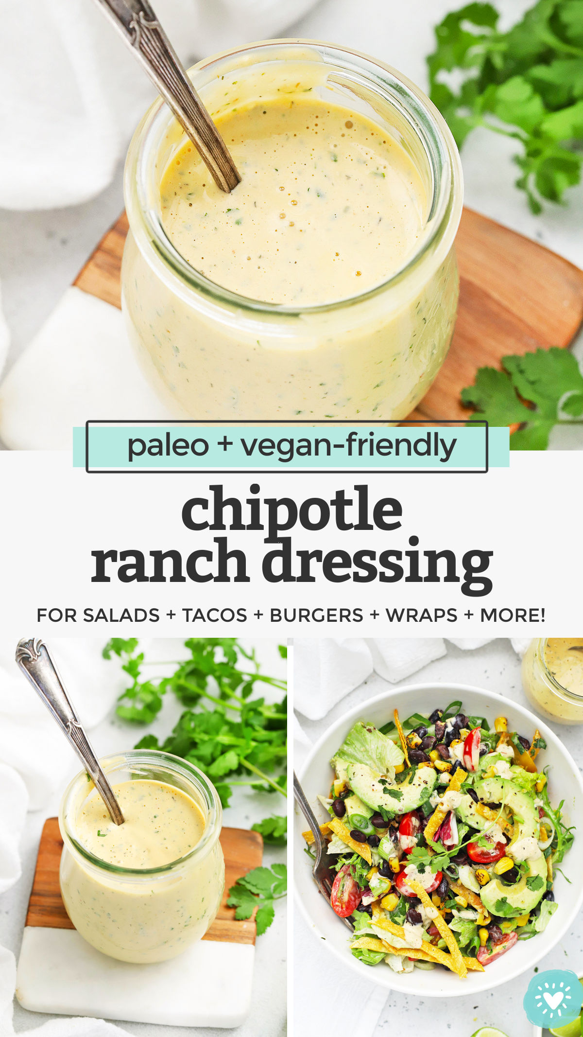 Chipotle Ranch Dressing or Dip - This smoky, slightly spicy ranch dressing is a delicious way to add some kick to your meals. Don't miss our big list of ways to use it! (Dairy-Free, Gluten-Free, Paleo + Vegan Friendly) // Dairy-Free Chipotle Ranch // Vegan Chipotle Ranch // Paleo Chipotle Ranch #ranch #paleo #vegan #dip