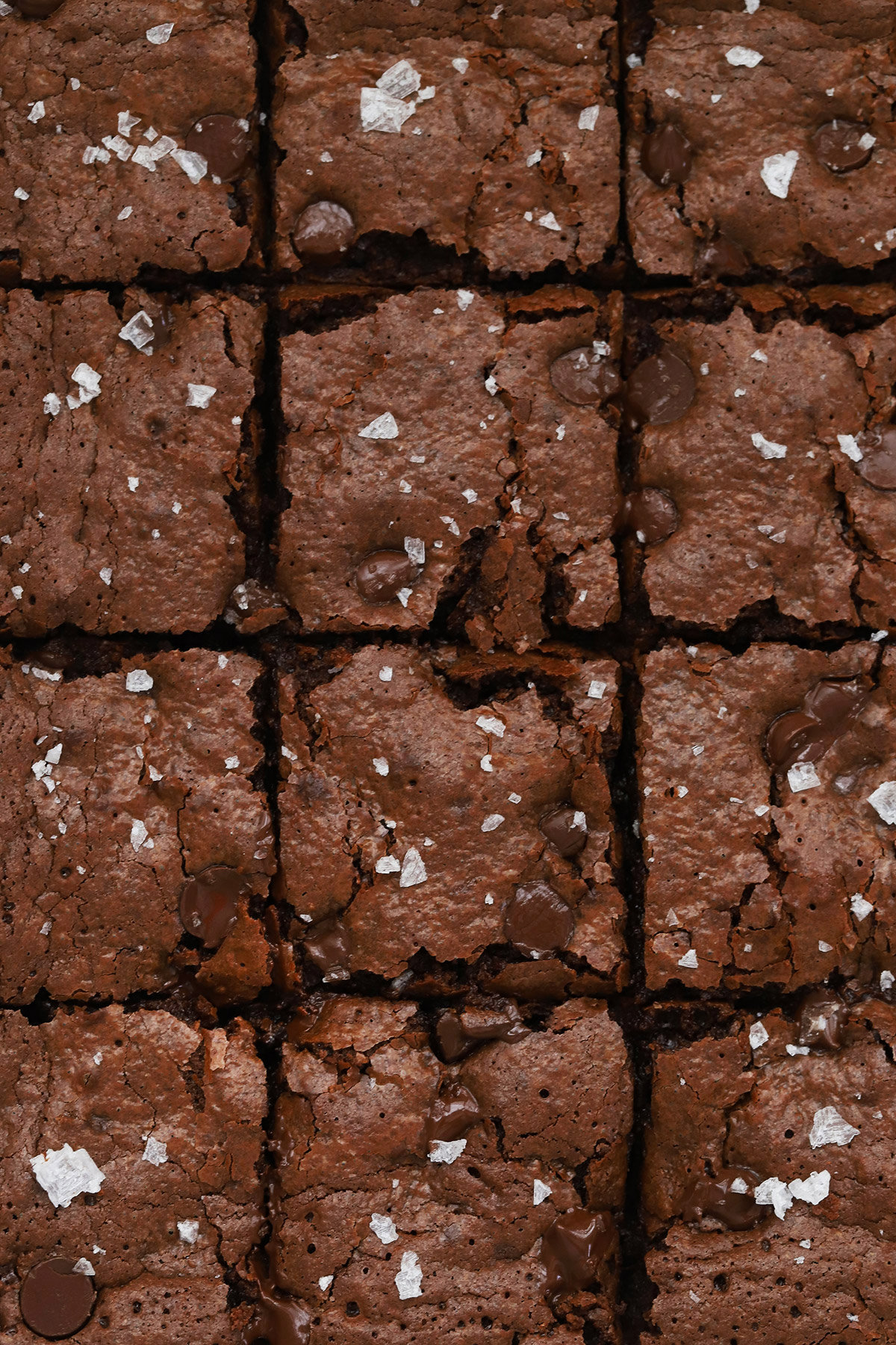 Close up view of gluten-free brownies topped with sea salt