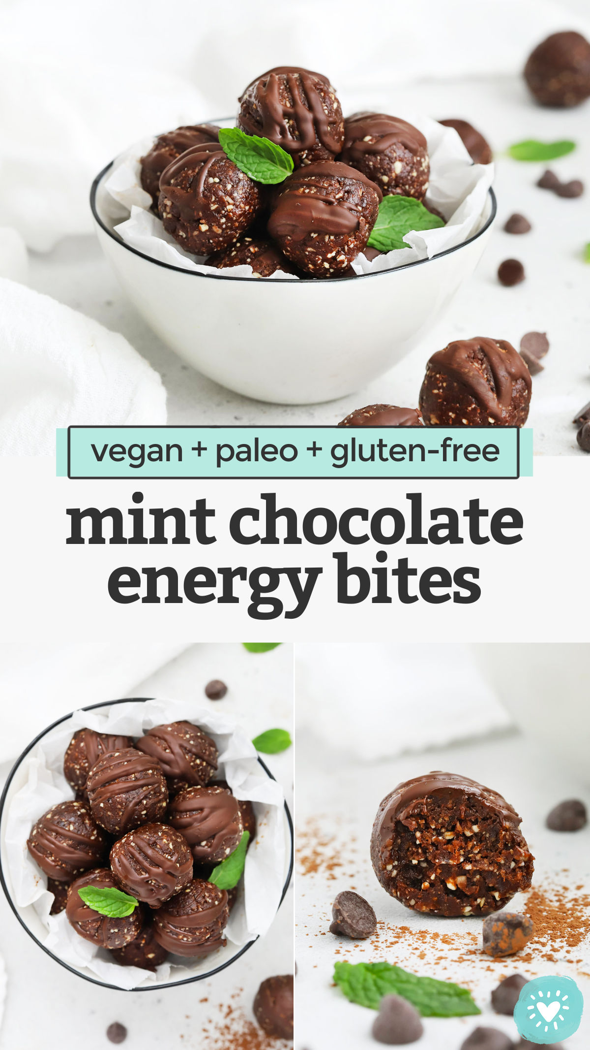 Thin Mint Energy Bites - These Mint Chocolate Energy Bites are a delicious snack or healthy treat! Made with simple ingredients, they're great for meal prep. (Vegan + Paleo + Gluten-Free) // Thin Mint Energy Bites // Mint Brownie Energy Bites // Chocolate Peppermint Energy Bites // Healthy Snack // Meal Prep Snack // Mint Chocolate Energy Balls #vegan #glutenfree #paleo #energybites #energyballs