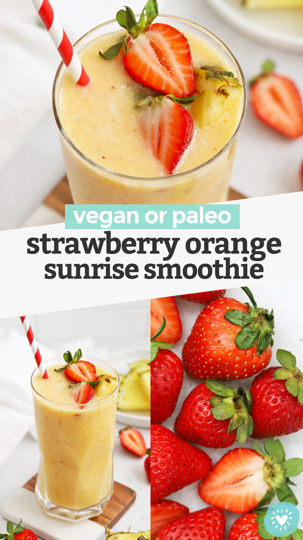 Strawberry Orange Sunrise Smoothie - This creamy strawberry mango pineapple smoothie has bright, fresh flavor that feels like taking your tastebuds on vacation! (Paleo or Vegan) // Strawberry Mango Smoothie // Strawberry Pineapple Smoothie // Strawberry Orange Smoothie // Healthy smoothie // healthy snack #paleo #vegan #smoothie
