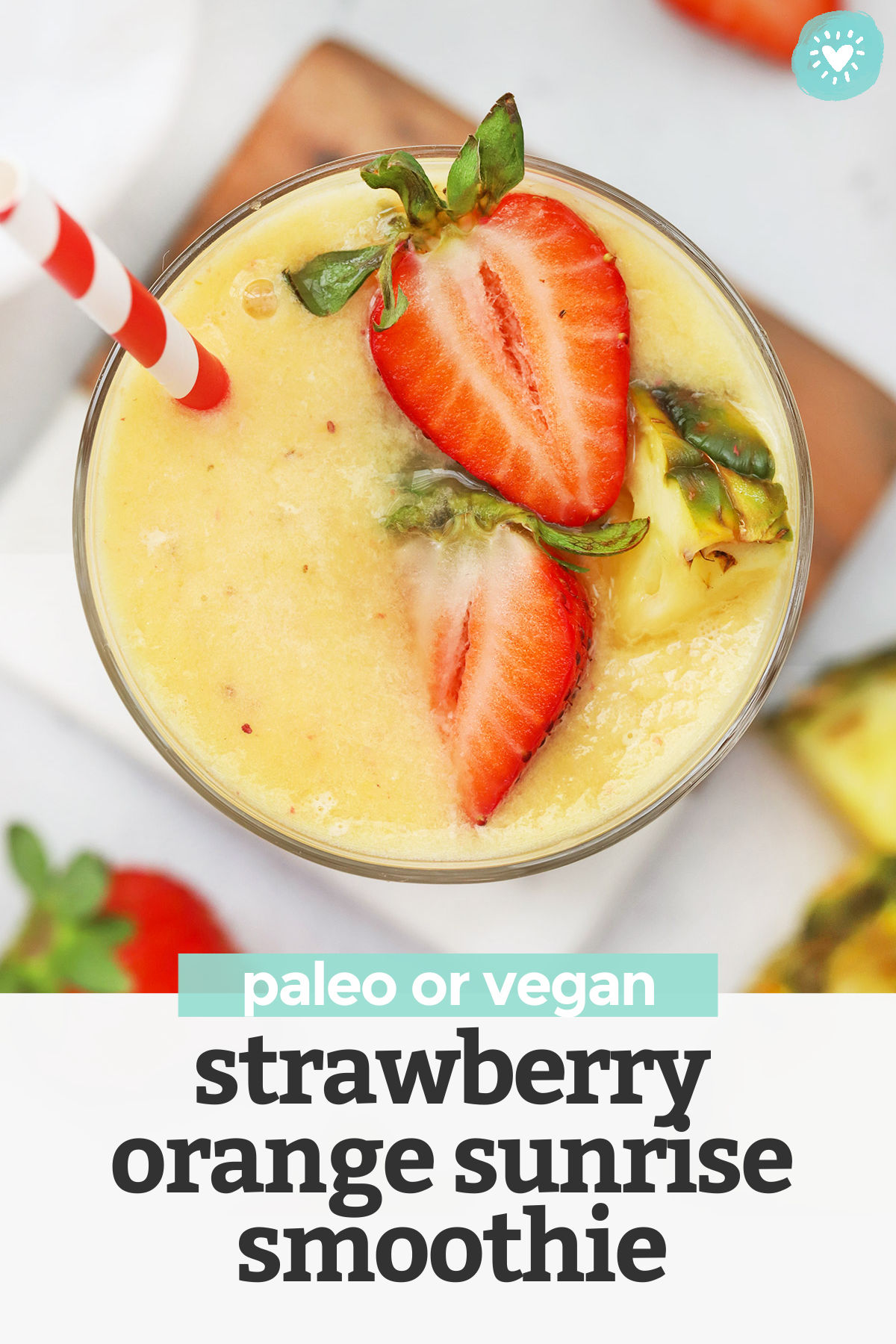 Strawberry Orange Sunrise Smoothie - This creamy strawberry mango pineapple smoothie has bright, fresh flavor that feels like taking your tastebuds on vacation! (Paleo or Vegan) // Strawberry Mango Smoothie // Strawberry Pineapple Smoothie // Strawberry Orange Smoothie // Healthy smoothie // healthy snack #paleo #vegan #smoothie