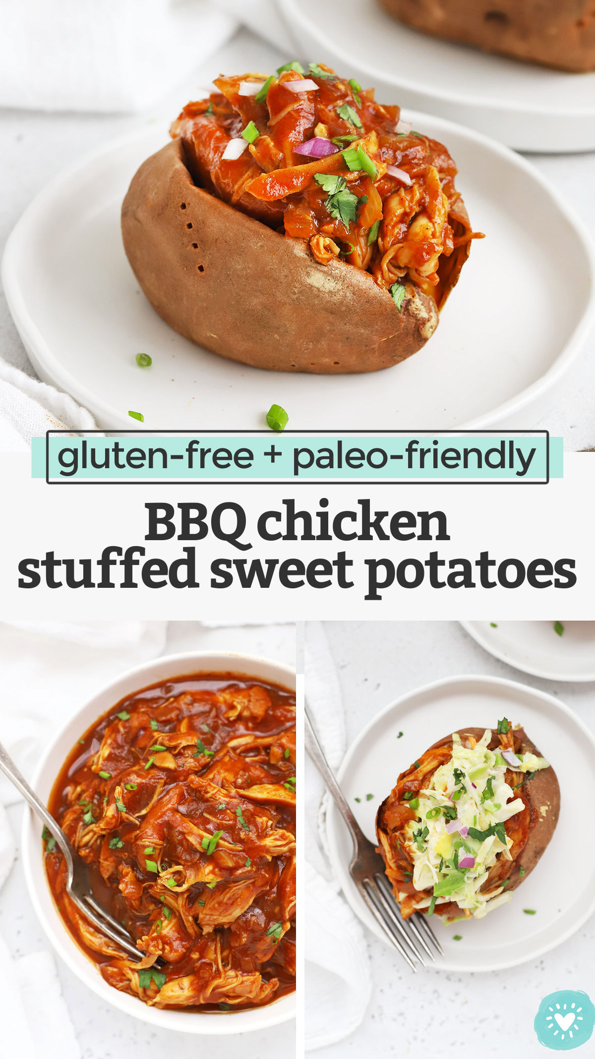 BBQ Chicken Stuffed Sweet Potatoes - Baked sweet potatoes stuffed with tender barbecue chicken and topped with goodies. We love this easy dinner! (Gluten-Free, Paleo, Whole30 Friendly) // Barbecue Chicken Stuffed Sweet Potatoes // Barbecue Sweet Potatoes // Stuffed Sweet Potatoes // Baked Sweet Potato Toppings #paleo #sweetpotato #bakedpotatoe #whole30 #glutenfree #bbq