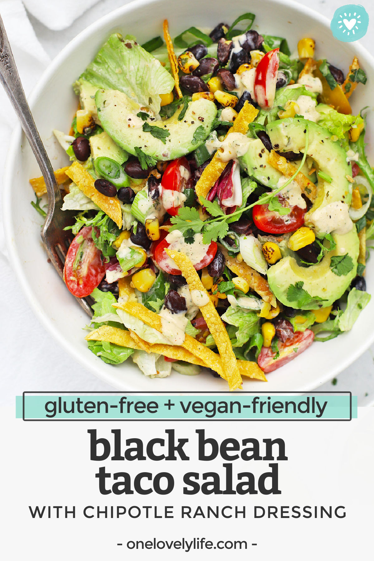 Black Bean Taco Salad - A gorgeous vegetarian taco salad with colorful veggies and a creamy dressing that'll keep you coming back for more! (Gluten-Free, Vegan-Friendly) // Vegan Taco Salad // Meatless Monday // Vegan Dinner // Healthy Dinner // Vegetarian Dinner #glutenfree #vegan #tacosalad #vegetarian #healthydinner