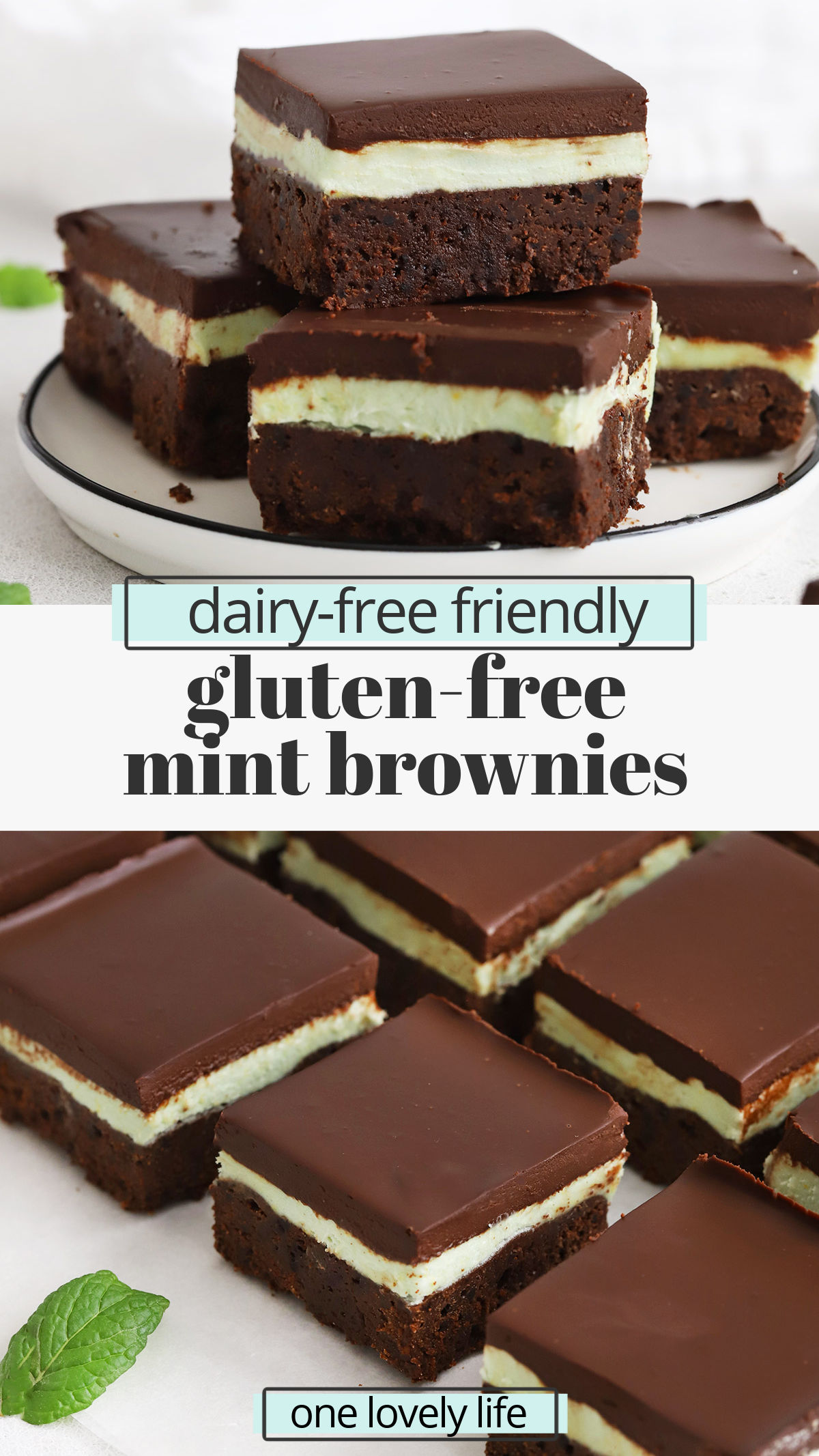 Gluten-Free Mint Brownies - Fudgy gluten-free brownies topped with mint frosting & chocolate ganache make a perfect retro treat! (Dairy-Free) // Gluten Free Mint Brownies // Gluten Free Frosted Mint Brownies // Gluten Free Grasshopper Brownies // Gluten Free BYU Mint Brownies #glutenfree #brownies #mintbrownies