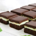 Close up front view of gluten-free mint brownie squares
