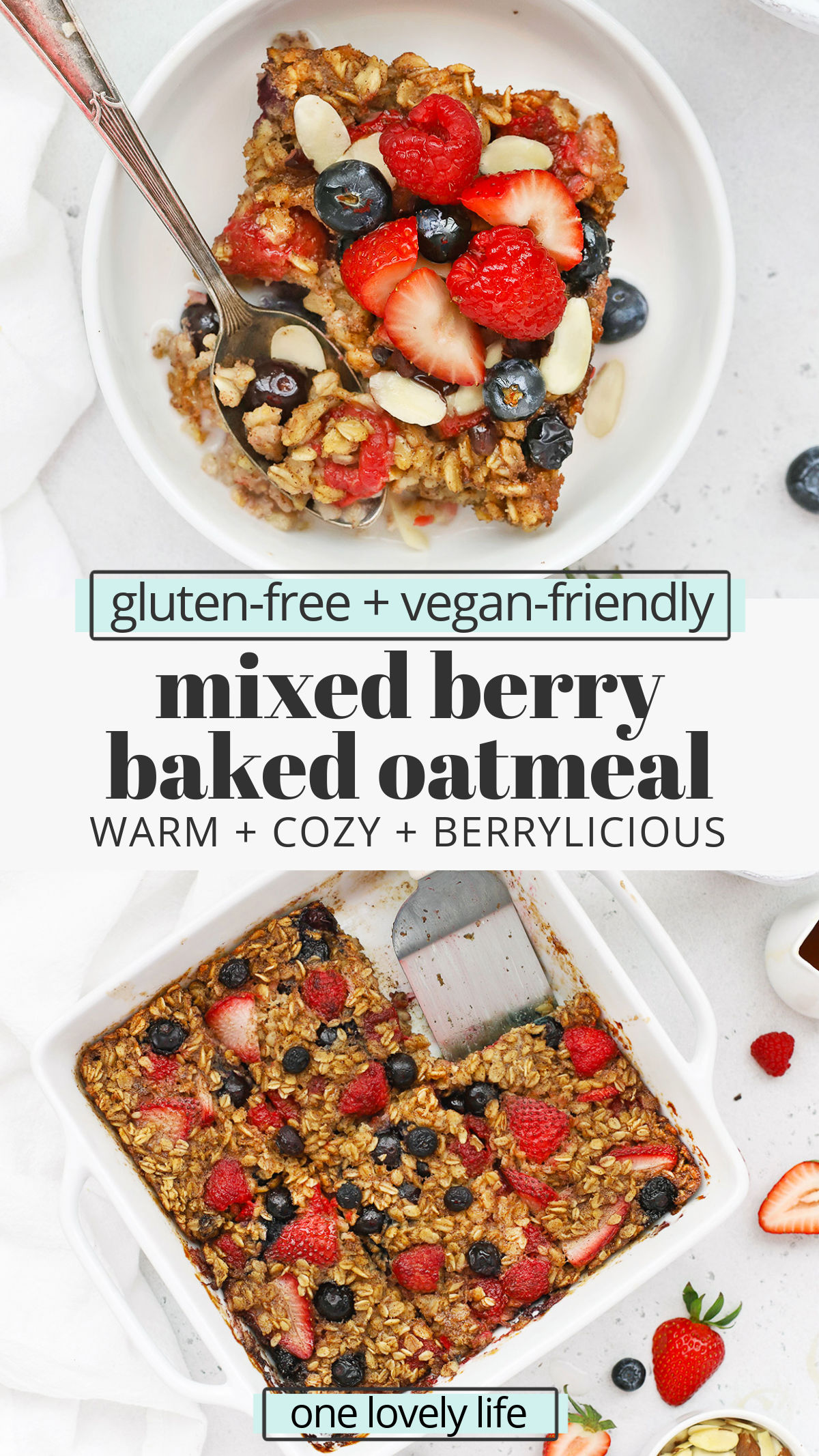 Mixed Berry Baked Oatmeal! This triple berry baked oatmeal recipe is a delightful healthy meal prep breakfast perfect for a crowd. (Gluten-Free, Vegan-Friendly) // Healthy Berry Baked Oatmeal // Vegan Berry Baked Oatmeal // Gluten-Free Berry Baked Oatmeal // Meal Prep Breakfast Recipe // Baked Oatmeal Recipe // Spring Breakfast #glutenfree #bakedoatmeal #berries #oatmeal #vegan