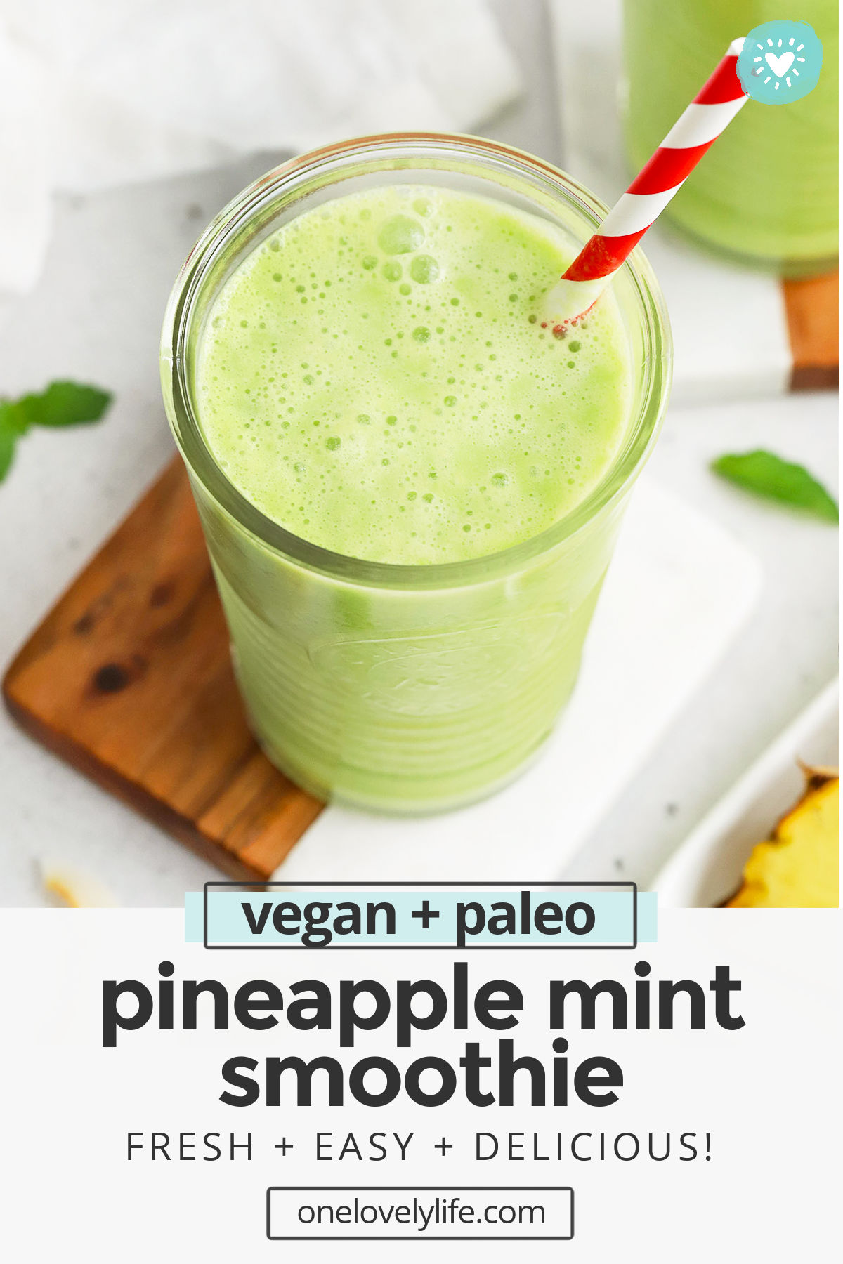 Pineapple Mint Smoothie - This light, fresh pineapple smoothie makes a beautiful healthy breakfast or snack! A perfect kid-friendly green smoothie! (Vegan, Paleo) // Vegan pineapple smoothie // paleo pineapple smoothie // kid friendly green smoothie // green smoothie #smoothie #greensmoothie #vegan #healthybreakfast #healthysnack #paleo