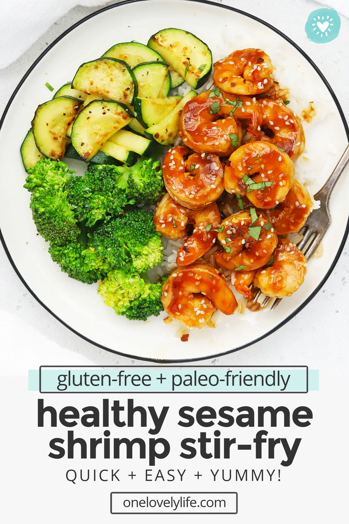 Easy Sesame Shrimp - Quick and easy healthy shrimp stir fry with a sweet, tangy sesame sauce. We LOVE this easy dinner! (Gluten-Free, Paleo-Friendly)// Healthy Sesame Shrimp Stir Fry // Paleo Shrimp Stir Fry // Gluten-Free Shrimp Stir Fry // Honey Sesame Shrimp // Sesame Garlic Shrimp #shrimp #stirfry #glutenfree #paleo