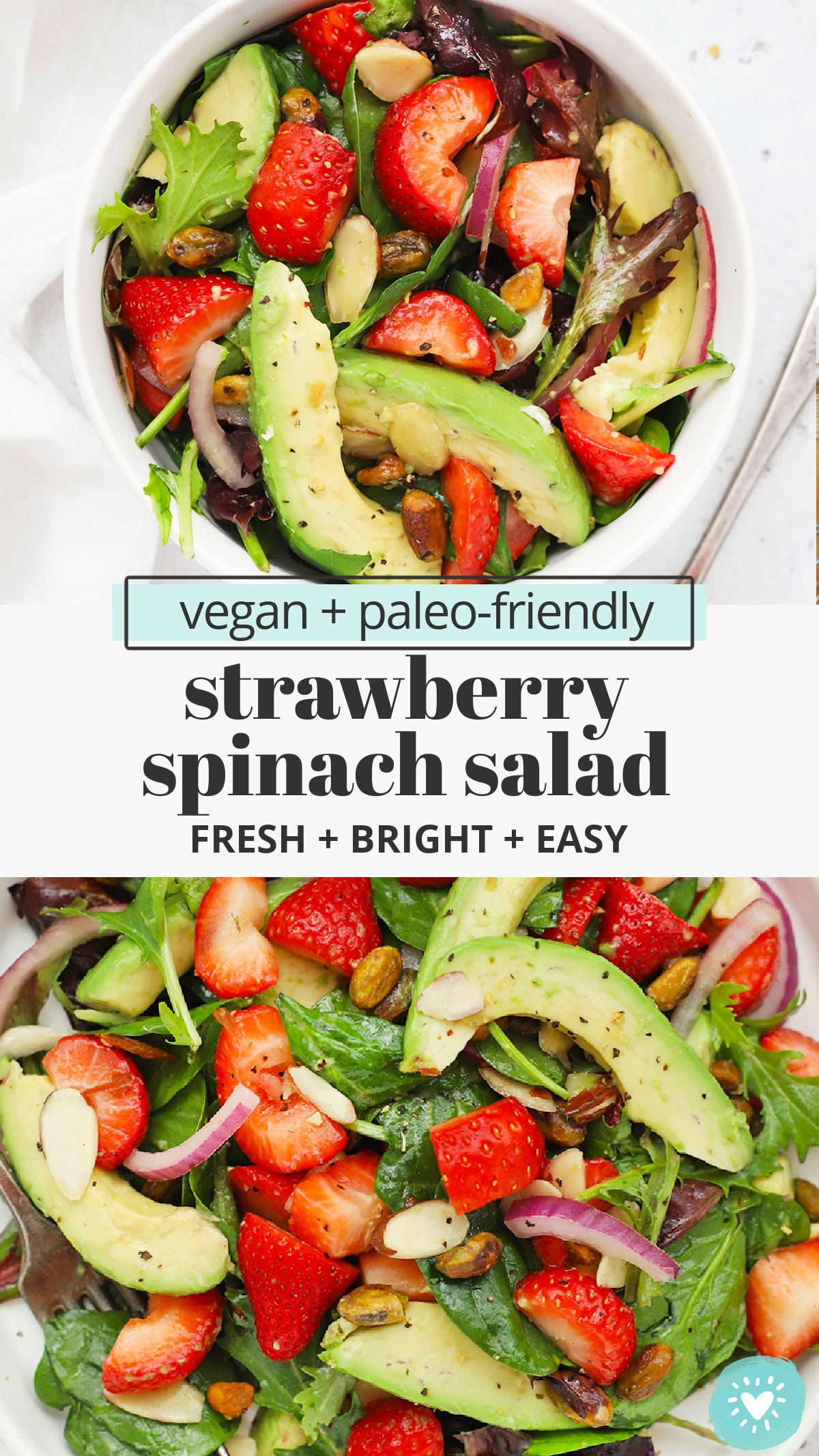 Strawberry Spinach Salad - This strawberry spinach salad recipe is light, bright, and so easy! You'll love the tangy dressing! (Vegan, Paleo) // Paleo Strawberry Spinach Salad // Vegan Strawberry Spinach Salad // Healthy Strawberry Spinach Salad // Gluten-Free Strawberry Spinach Salad // Spring Salad #spinachsalad #salad #strawberry #spring #glutenfree #vegan #paleo