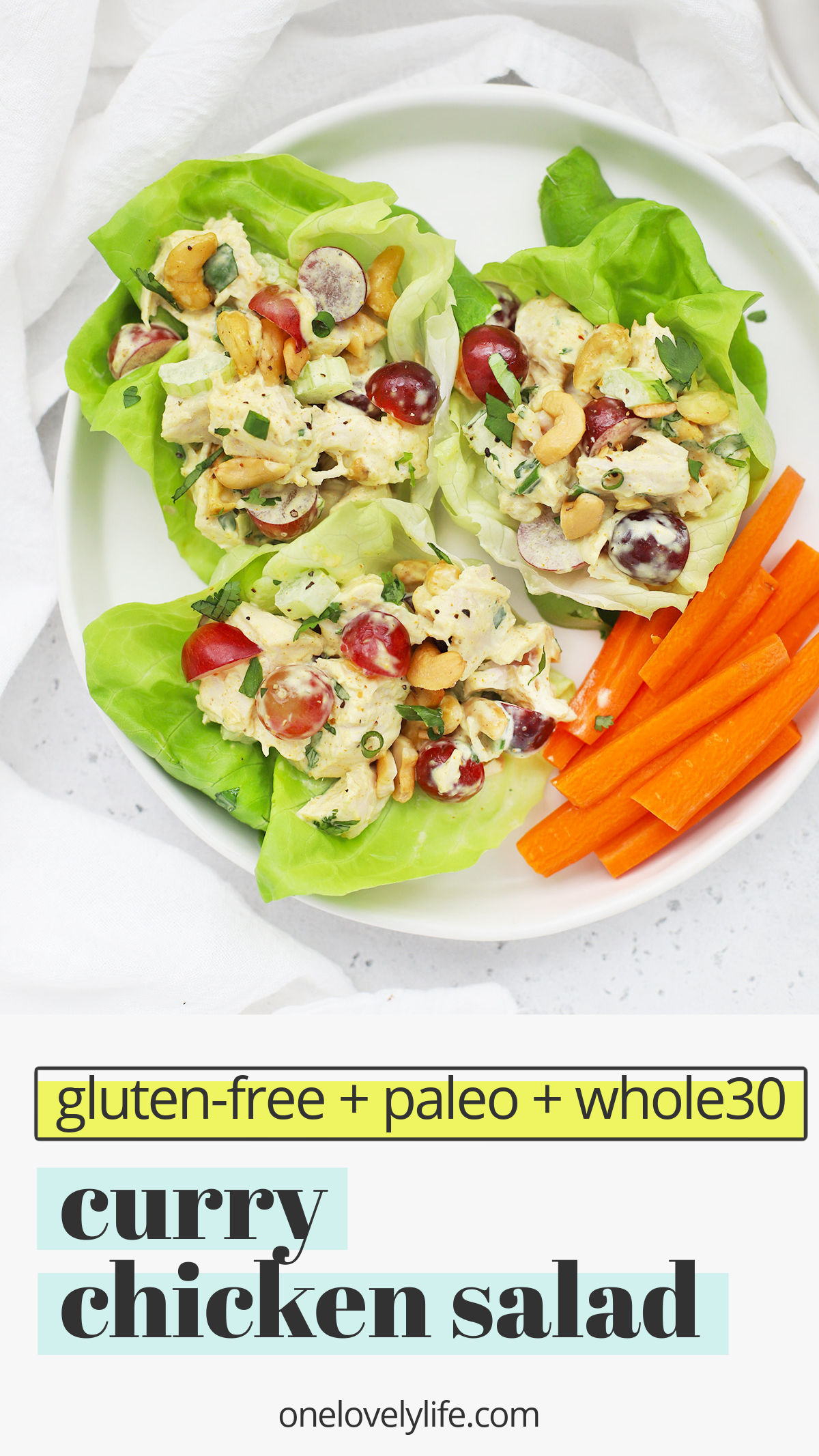 Curry Chicken Salad - Our healthy curry chicken salad with grapes is easy, fresh, and delicious. A perfect easy lunch or dinner any day of the week. (Gluten-Free, Paleo-Friendly, Whole30-Friendly) // Paleo Curry Chicken Salad // Whole30 Curry Chicken Salad // Healthy Meal-Prep Lunch #chickensalad #curry #mealprep #healthylunch #paleo #whole30