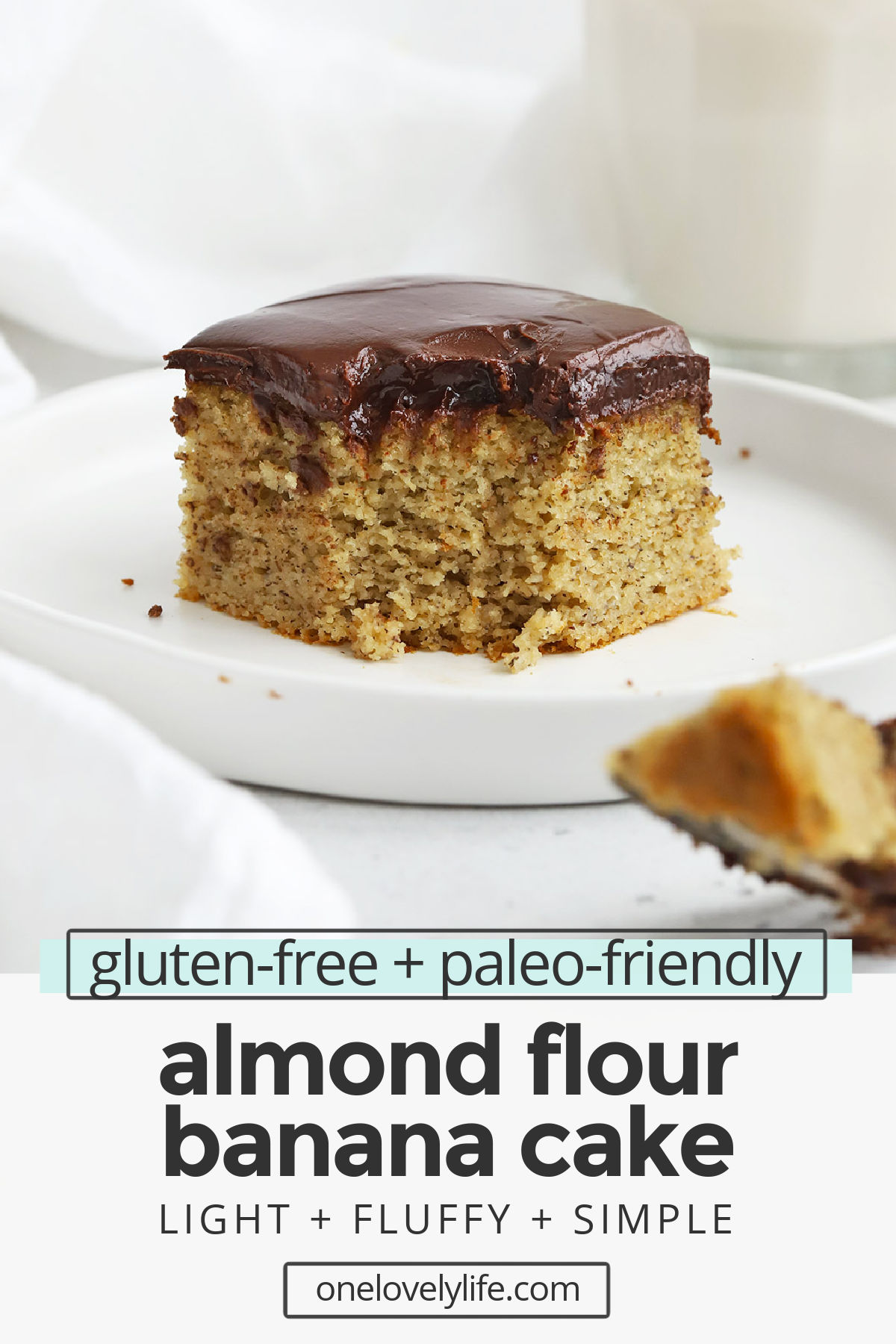 Almond Flour Banana Cake - This easy gluten-free banana cake with chocolate ganache is the perfect way to use up overripe bananas! (Healthy, paleo friendly, and absolutely amazing!) // Healthy Banana Cake // Paleo Banana Cake // Gluten Free Banana Cake // Banana Cake recipe // Almond Flour cake // smash cake #glutenfree #cake #bananacake #almondflour #paleo