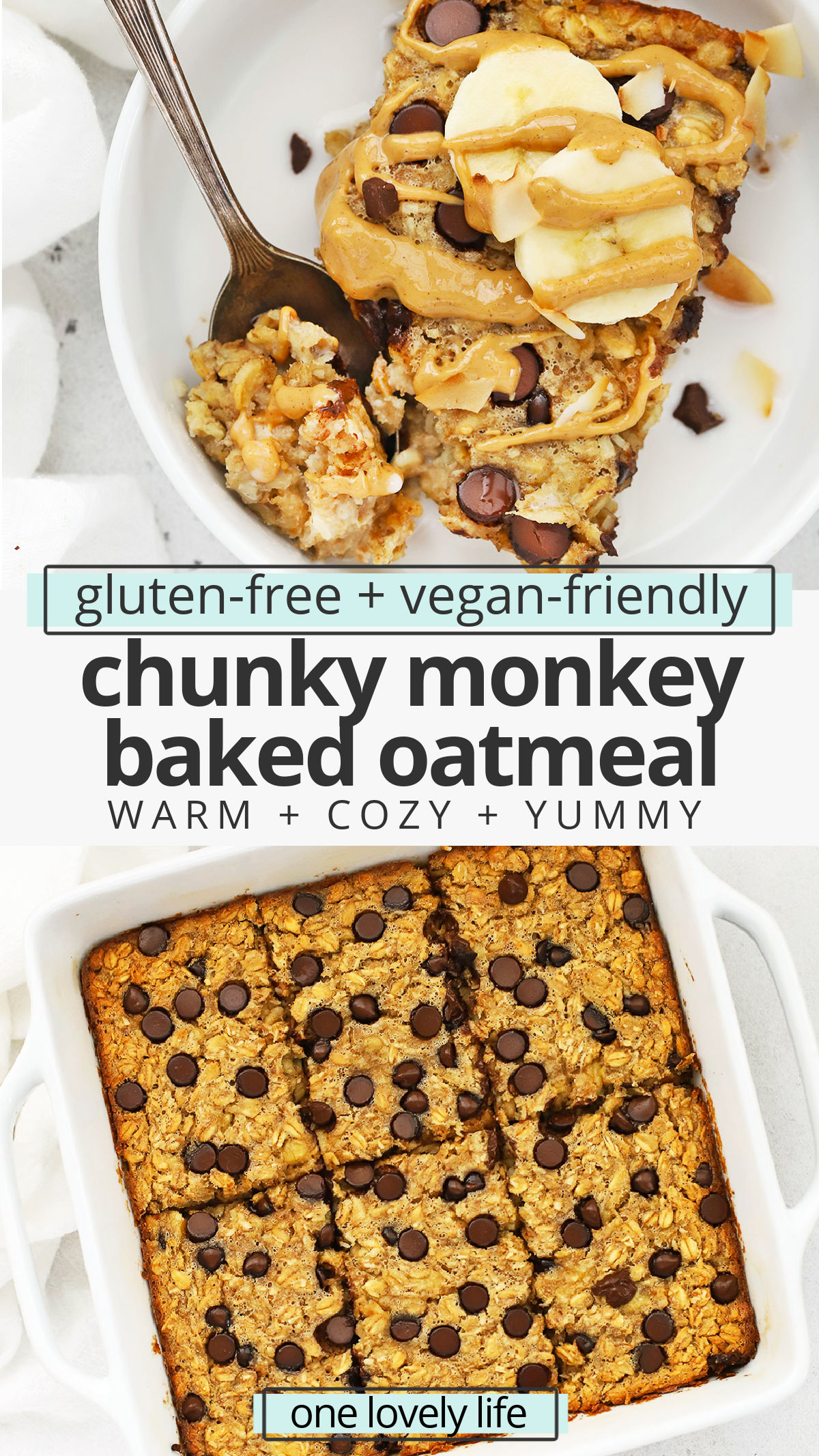 Chunky Monkey Baked Oatmeal - This peanut butter banana baked oatmeal is loaded with goodies like coconut and chocolate chips to make any morning feel special. (Gluten-Free, Vegan-Friendly) // Peanut Butter Banana Baked Oatmeal Recipe // Healthy Baked Oatmeal // Healthy Breakfast #bakedoatmeal #glutenfree #chunkymonkey #oatmeal #healthybreakfast