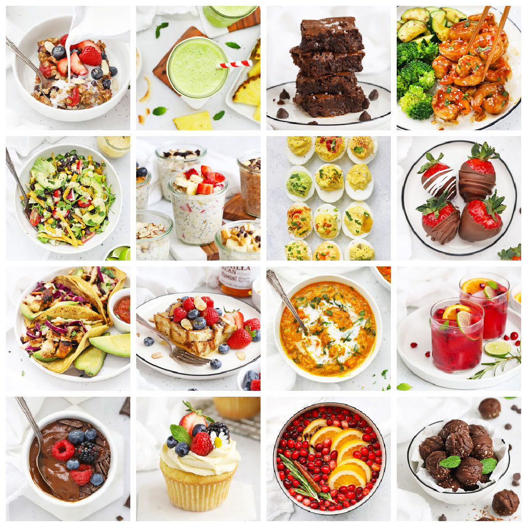 Collage of images of food photography from Emily Dixon of One Lovely Life