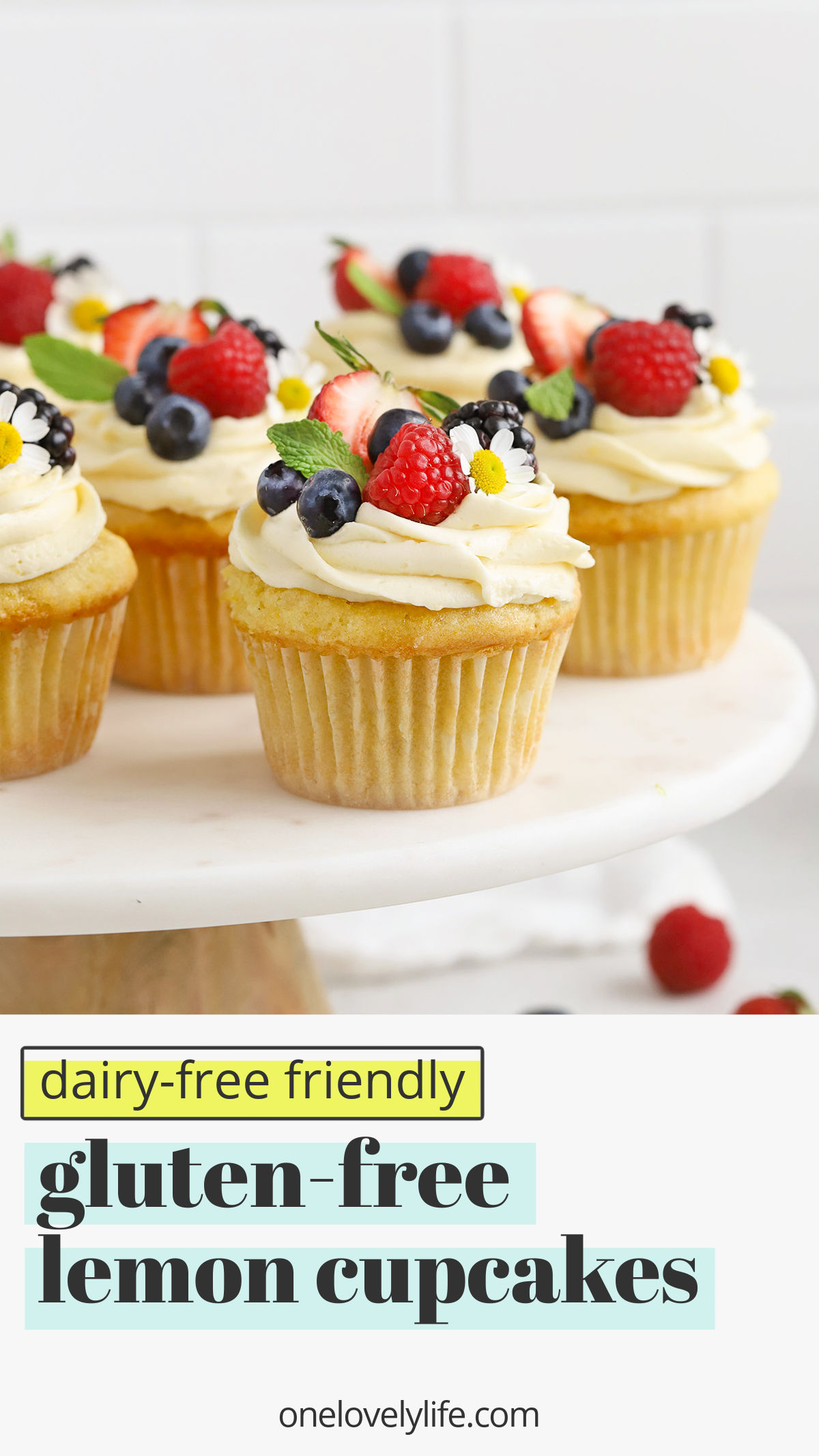 Gluten-Free Lemon Cupcakes with Lemon Frosting. These light, fluffy lemon cupcakes are lovely for any special occasion! (Dairy-Free Friendly) // Dairy-Free Lemon Frosting // Dairy Free Lemon Cupcakes // Lemon Buttercream // Dairy Free Lemon Buttercream // Gluten Free Cupcakes // Gluten Free Lemon Cupcakes Recipe #glutenfree #cupcakes #frosting #lemon #dairyfree