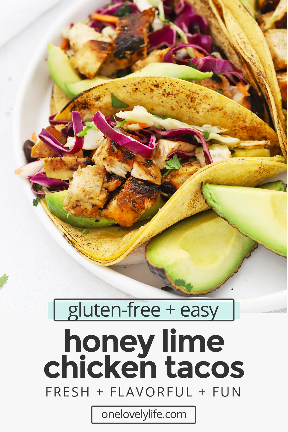Honey Lime Chicken Tacos - Our honey lime chicken marinade gives these chicken tacos such delicious flavor. Don't miss our favorite toppings to add to these tasty tacos! (Gluten-Free) // Chicken Tacos recipe // Lime Chicken Tacos // Chili Lime Chicken Tacos // healthy chicken tacos // the best chicken tacos // grilled chicken tacos #tacos #chicken #tacotuesday #texmex