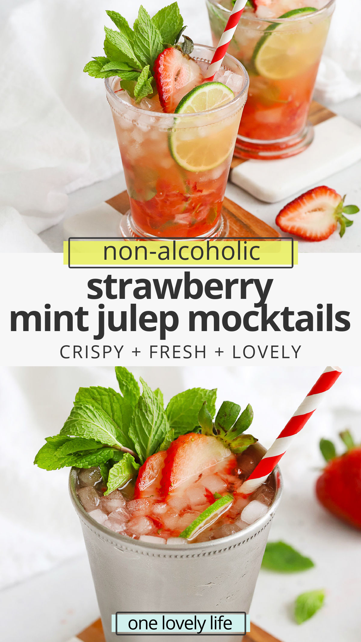 These Virgin Strawberry Mint Juleps are great for a Kentucky Derby party with kids or make the perfect drink for a casual summer barbecue. Mint Julep Mocktails // Strawberry Mint Julep // Disneyland Mint Julep // Disney Mint Julep // Non-alcholic Mint Julep #julep #mintjulep #mocktail #nonalcoholic