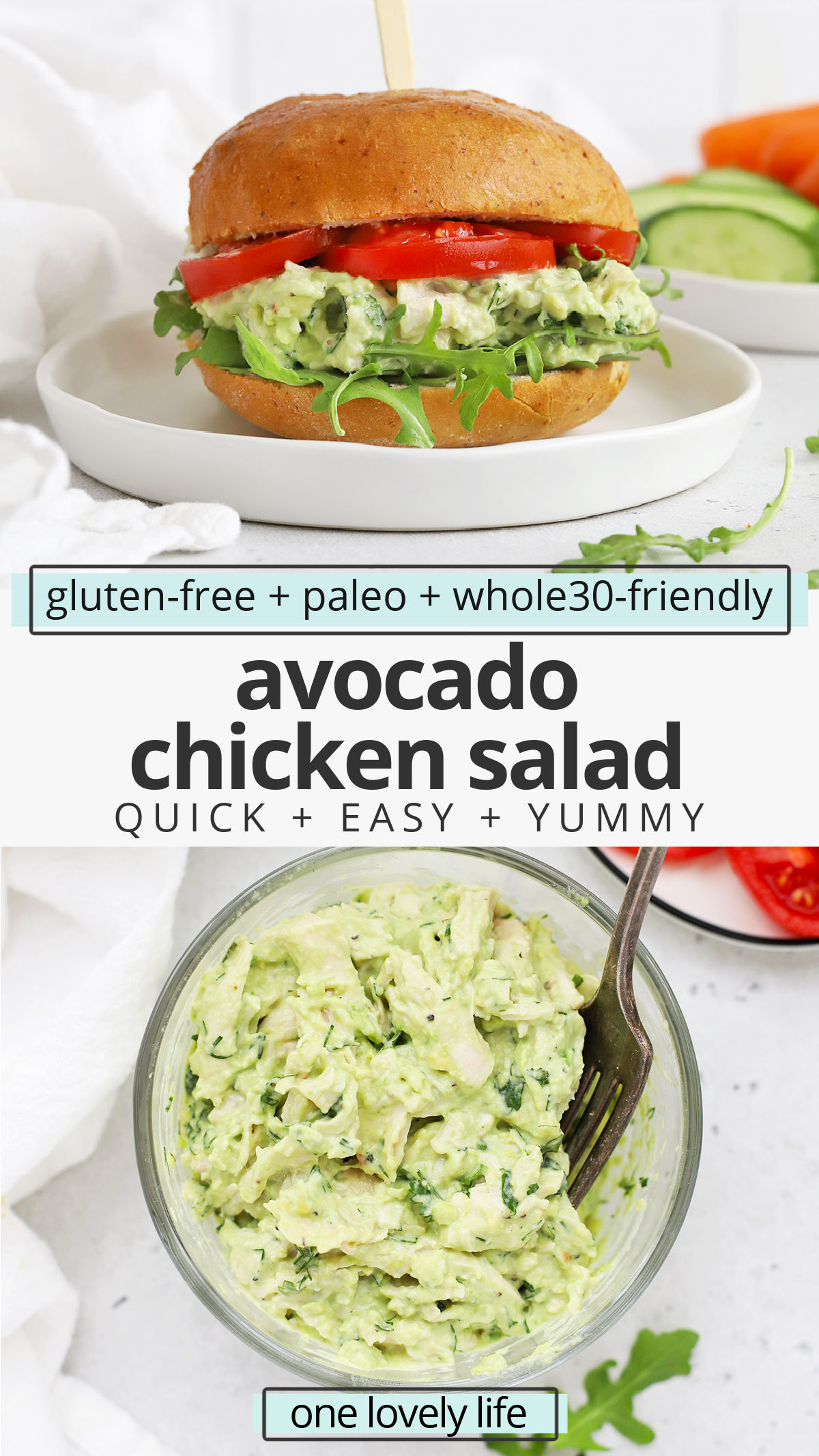 Avocado Chicken Salad - Tender chicken with creamy avocado sauce makes a delicious healthy lunch any day of the week! Try it on sandwiches, with crackers, in lettuce cups, and more! (Gluten-Free, Paleo, Whole30-Friendly) // Healthy Meal Prep Lunch // Whole30 Lunch // Paleo Lunch // Chicken Salad Recipe #glutenfree #mealprep #avocado #chickensalad #lunch #healthylunch