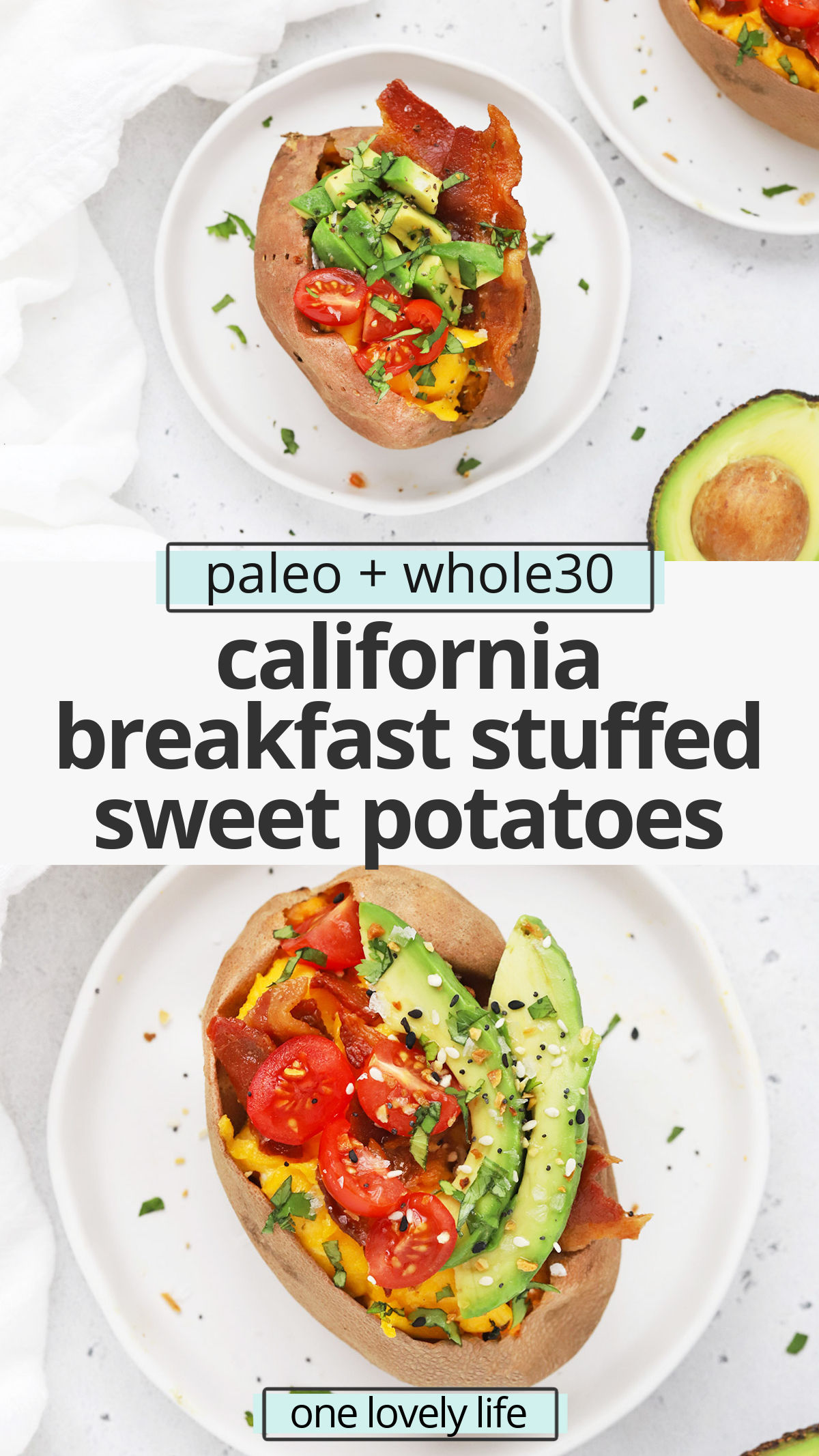 California Breakfast Stuffed Sweet Potatoes - This savory breakfast is loaded with goodies for a delicious start to the day! (Paleo, Whole30) // Whole30 breakfast // paleo breakfast // healthy breakfast // breakfast stuffed sweet potato recipe // gluten-free // stuffed sweet potatoes #breakfast #paleo #whole30 #healthy