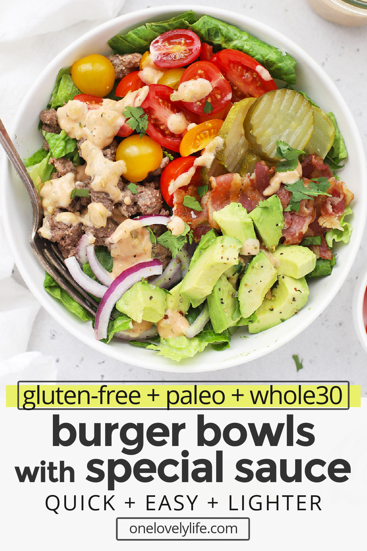 Burger Bowls with Special Sauce - Load all your favorite hamburger toppings onto a bed of greens and drizzle with our favorite special sauce to build an amazing burger salad. (Gluten-Free, Paleo & Whole30-Friendly) // Whole30 Burger Bowls // Special Sauce for Burgers // Paleo Burger Bowl // Burger Salad #paleo #glutenfree #whole30