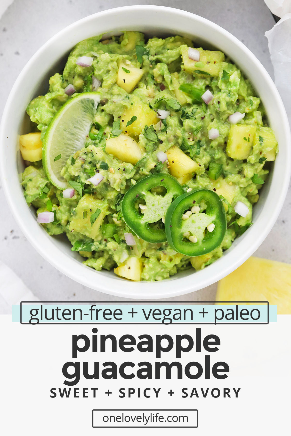 Pineapple Guacamole - Your favorite classic guacamole with a tropical twist! This sweet and spicy guacamole is delicious with all your Tex-Mex faves. Try all our ways to enjoy it below! (Gluten-Free, Paleo, Vegan) // Pineapple guacamole recipe // cinco de mayo // healthy appetizer #guacamole #healthyappetizer #appetizer #glutenfree #pineapple #paleo #vegan #whole30