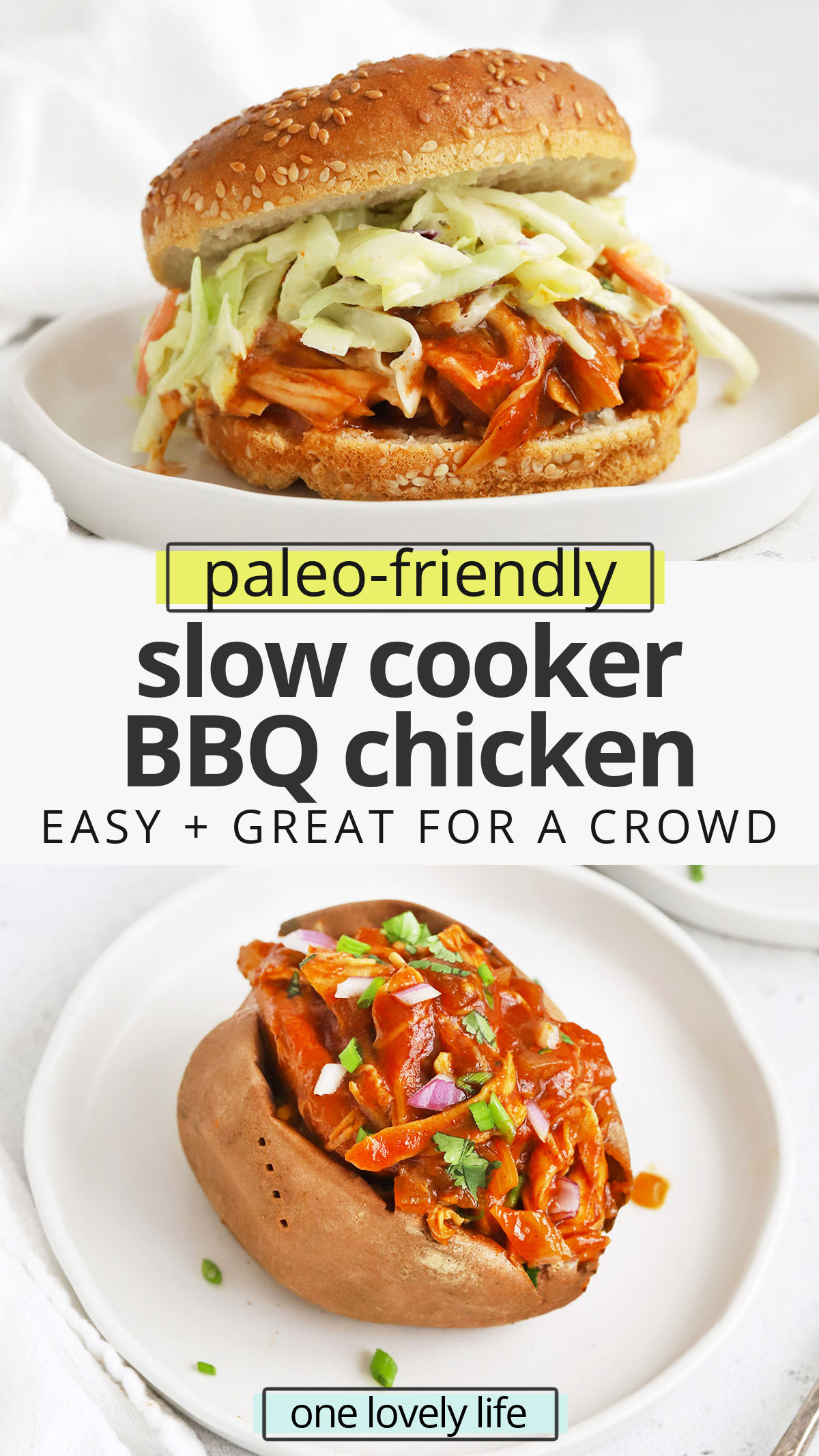Slow Cooker BBQ Chicken - This tender crockpot barbecue chicken makes for delicious sandwiches, salads, pizzas & more! (Paleo-Friendly) // Crock Pot BBQ Chicken // Slow Cooker Barbecue Chicken Recipe // Slow Cooker Chicken // Summer recipe // Dinner for a crowd #bbq #chicken #slowcooker #easydinner