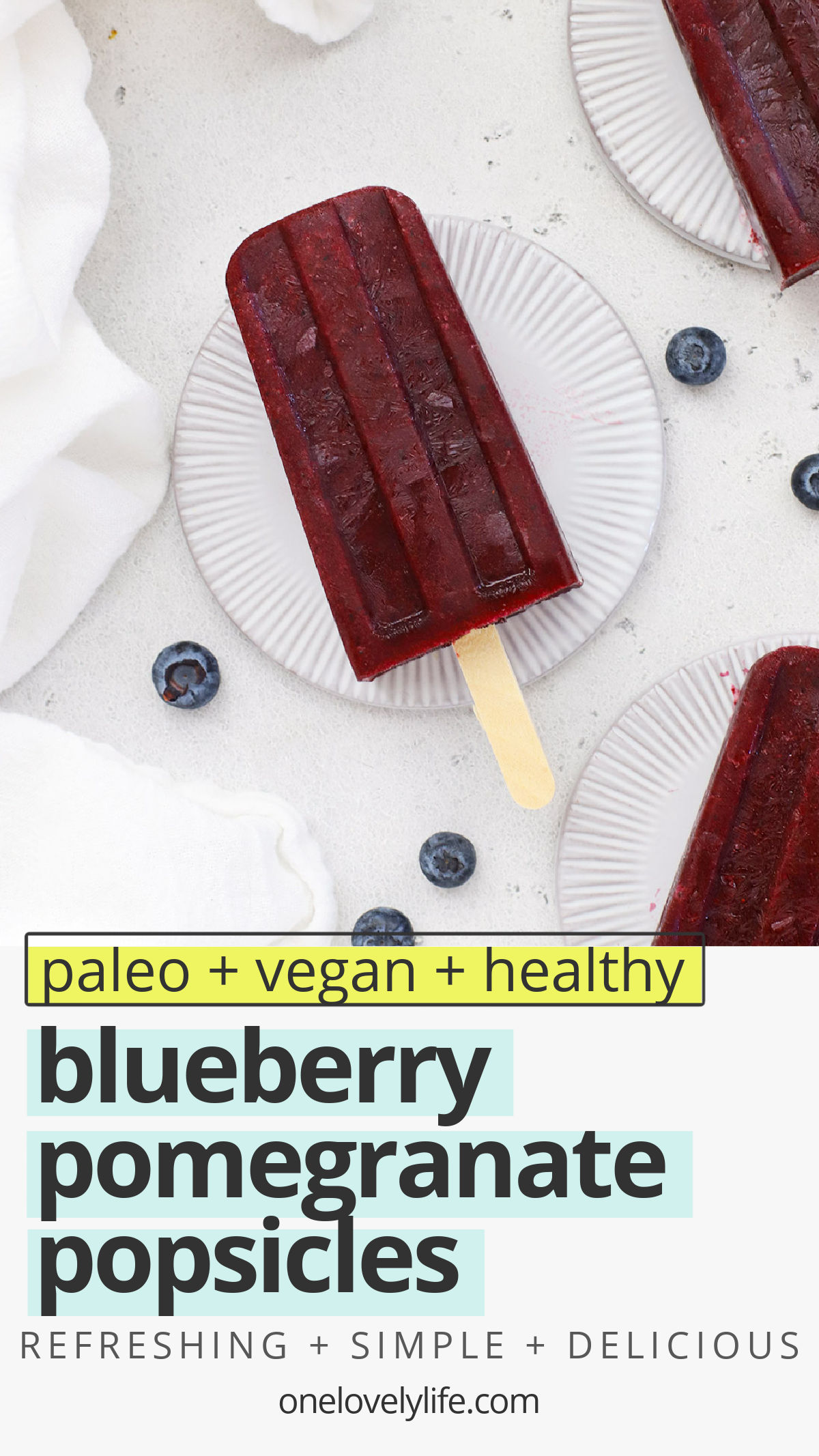 Blueberry Pomegranate Popsicles - These healthy blueberry popsicles are made of 100% fruit and have a creamy sorbet-like texture you'll fall in love with! // Blueberry Popsicles No Sugar // Blueberry Popsicles Without Yogurt // Homemade Blueberry Popsicles #popsicles #healthysnack #vegan #paleo #blueberry