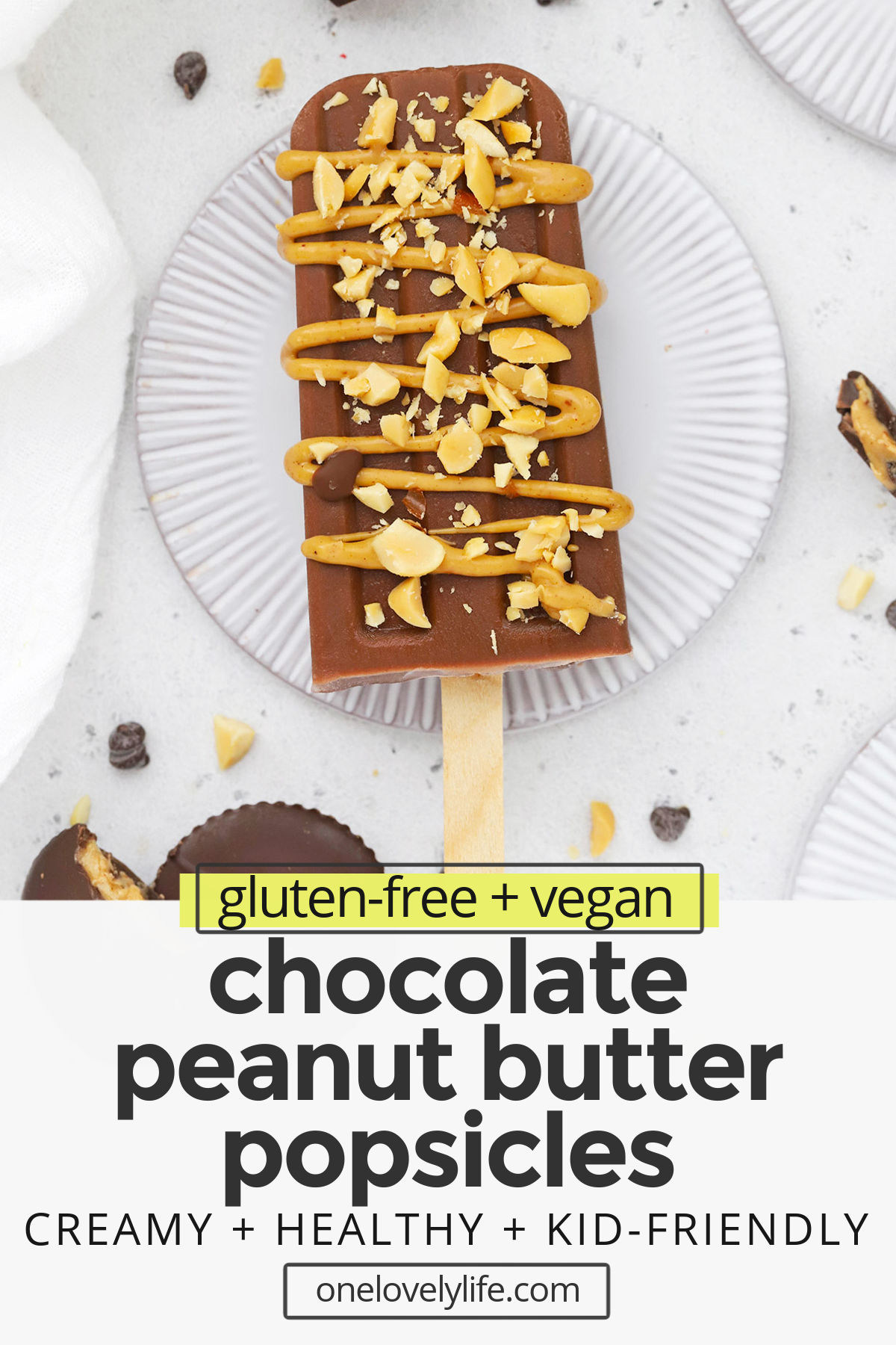 Chocolate Peanut Butter Popsicles (Vegan) - These healthy chocolate peanut butter popsicles feel like such a delicious treat! Creamy, naturally-sweetened, and totally delicious (vegan, gluten-free) // Vegan Chocolate Peanut Butter Popsicles // Chocolate Peanut Butter Banana Popsicles // Healthy Popsicle Recipe #vegan #popsicles #summerdessert #healthytreat #chocolatepeanutbutter