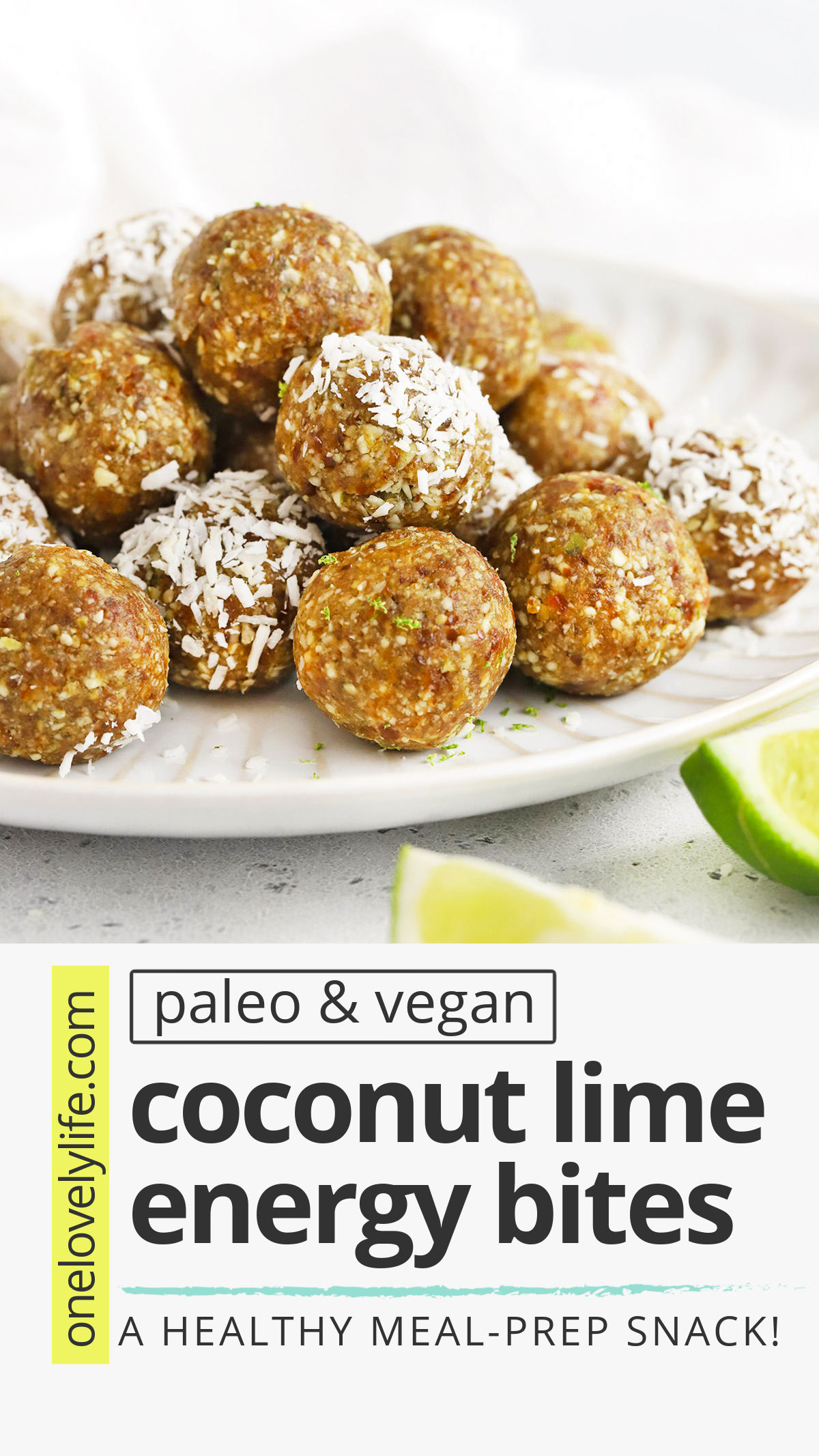 Coconut Lime Energy Bites - These nut-free lime energy bites are perfect for meal prep, healthy snacking, or packing in lunches. (Gluten free, vegan, and paleo approved!) // Nut Free snack // Nut free lunch idea // Nut free energy bites // #paleo #vegan #nutfree #energybites #energyballs