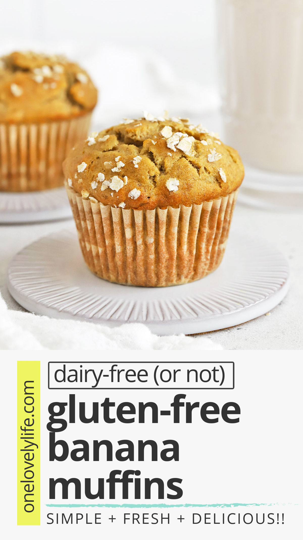 Gluten-Free Banana Muffins - This popular banana muffin recipe is the BEST! With the golden tops and fluffy middles, you'd never know they're gluten-free and dairy-free! // Best Gluten Free Banana Muffins Recipe // Healthy Banana Muffins Recipe // Healthy Gluten Free Banana Muffins // Gluten Free Banana Oatmeal Muffins #muffins #banana #glutenfree #healthysnack #packedlunch