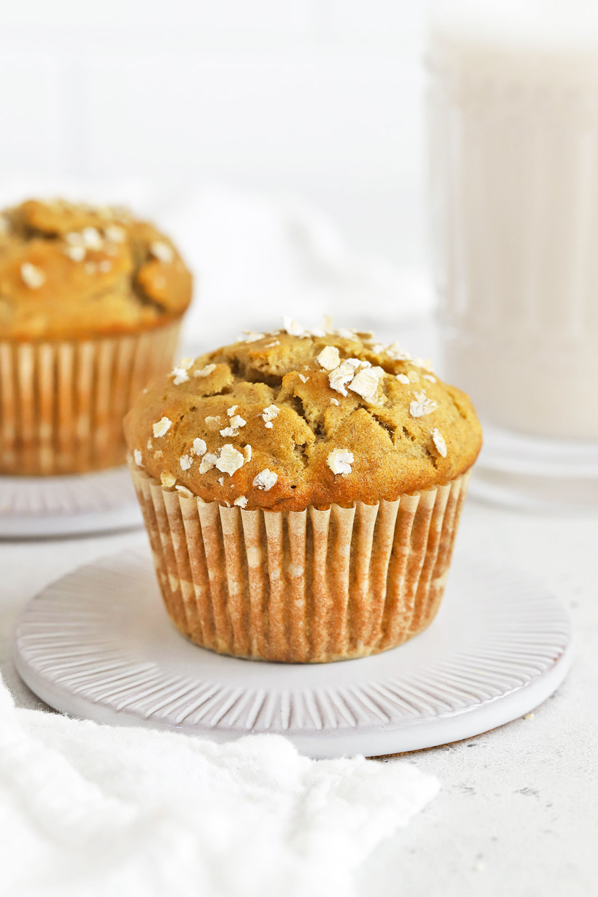 Front view of gluten-free banana oatmeal muffins.