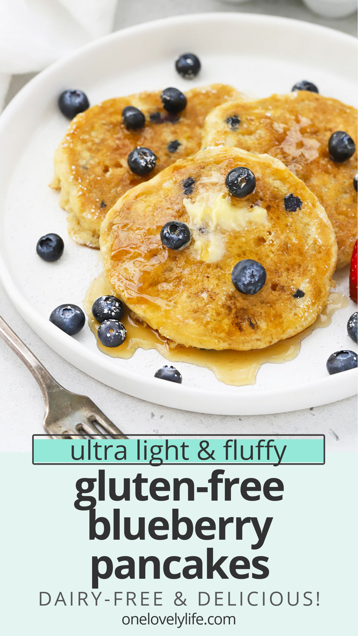 Fluffy Gluten-Free Blueberry Pancakes - These impossibly light, fluffy blueberry buttermilk pancakes are gluten-free, dairy-free & absolutely delicious.// gluten free blueberry pancakes recipe // dairy free blueberry pancakes // the best gluten-free blueberry pancakes // Gluten Free buttermilk blueberry pancakes #pancakes #blueberry #glutenfree #glutenfreepancakes