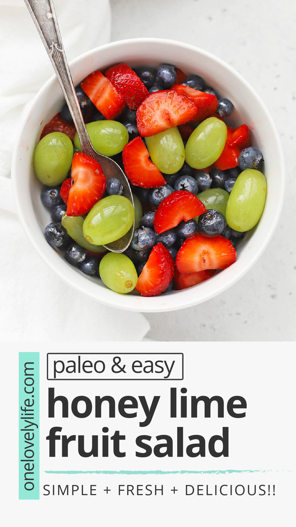 Honey Lime Fruit Salad is my favorite side dish. It's perfect for weeknight dinners, baby or wedding showers, barbecues, and more! // honey lime fruit salad recipe // healthy fruit salad // paleo fruit salad // fruit salad recipe // honey lime dressing #fruitsalad #honeylime #potluck #picnic #barbecue #sidedish #brunch #paleo