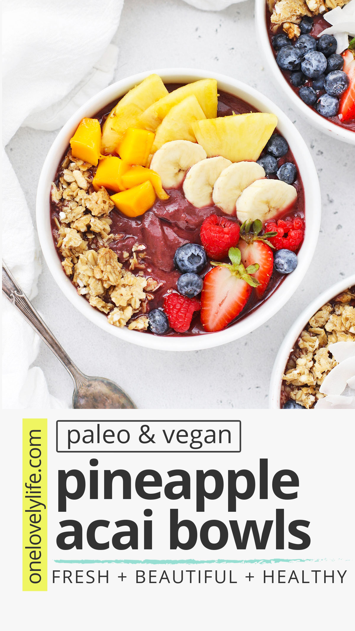 Pineapple Acai Bowls - These sweet, fresh tropical acai bowls are perfect for a hot day. Don't miss our list of toppings to try! (Vegan, Paleo) // Pineapple Acai Smoothie Bowl // Tropical Acai Bowl Recipe // Paleo Breakfast // Vegan Breakfast // Healthy Breakfast // Acai Bowls recipe // healthy snack #acai #smoothiebowl #acaibowl #vegan #paleo #healthy
