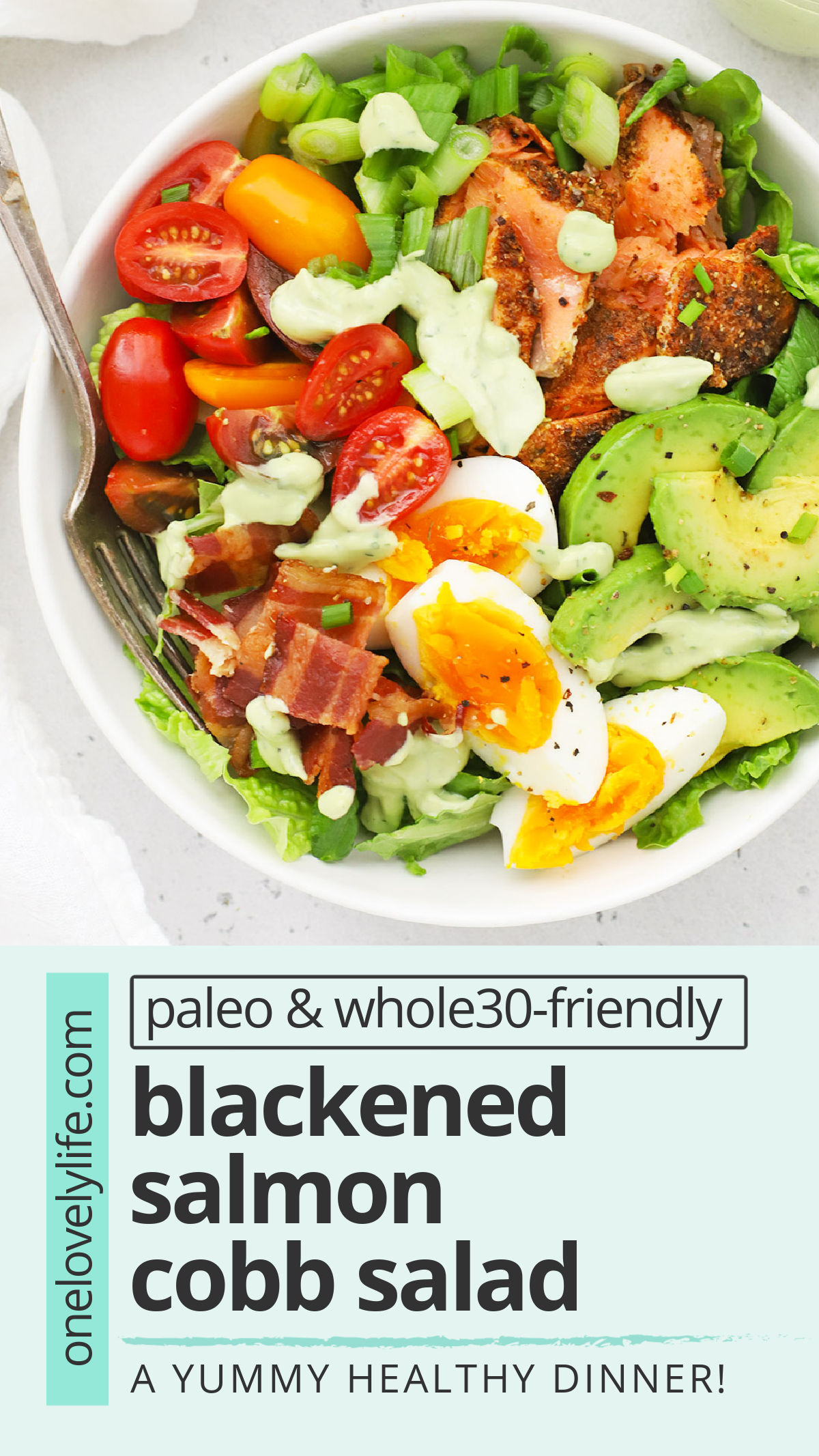 Blackened Salmon Cobb Salad - This salmon Cobb salad full of colorful veggies and finished with a creamy avocado green goddess dressing we can't get enough of! (Paleo, Whole30-Friendly) // Salmon Salad // Blackened Salmon Recipe // Salmon Cobb Recipe // Healthy Dinner #paleo #whole30 #cobbsalad #greengoddess